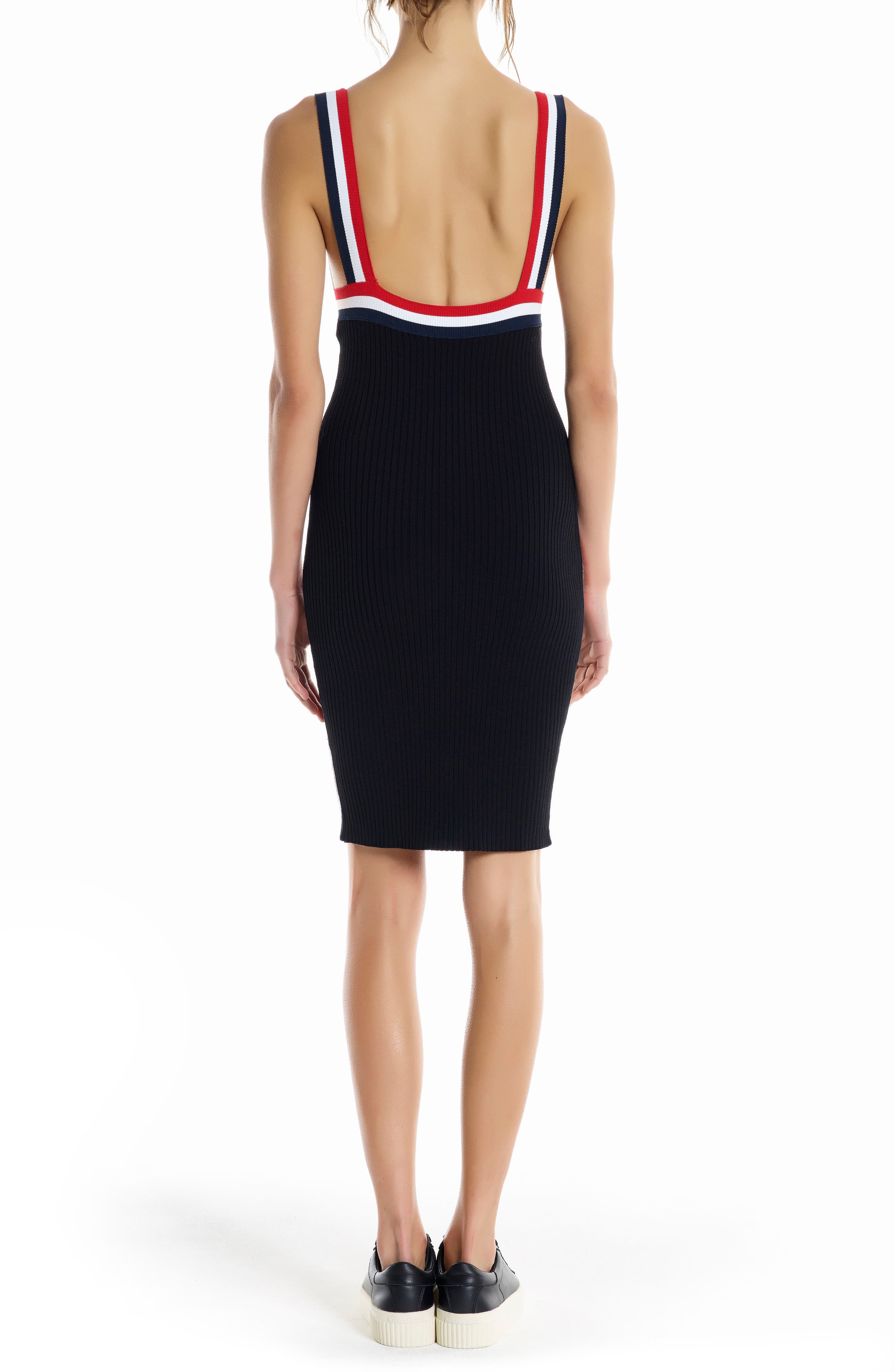 Rainbow Trim Midi Dress,                             Alternate thumbnail 2, color,                             Black Multi