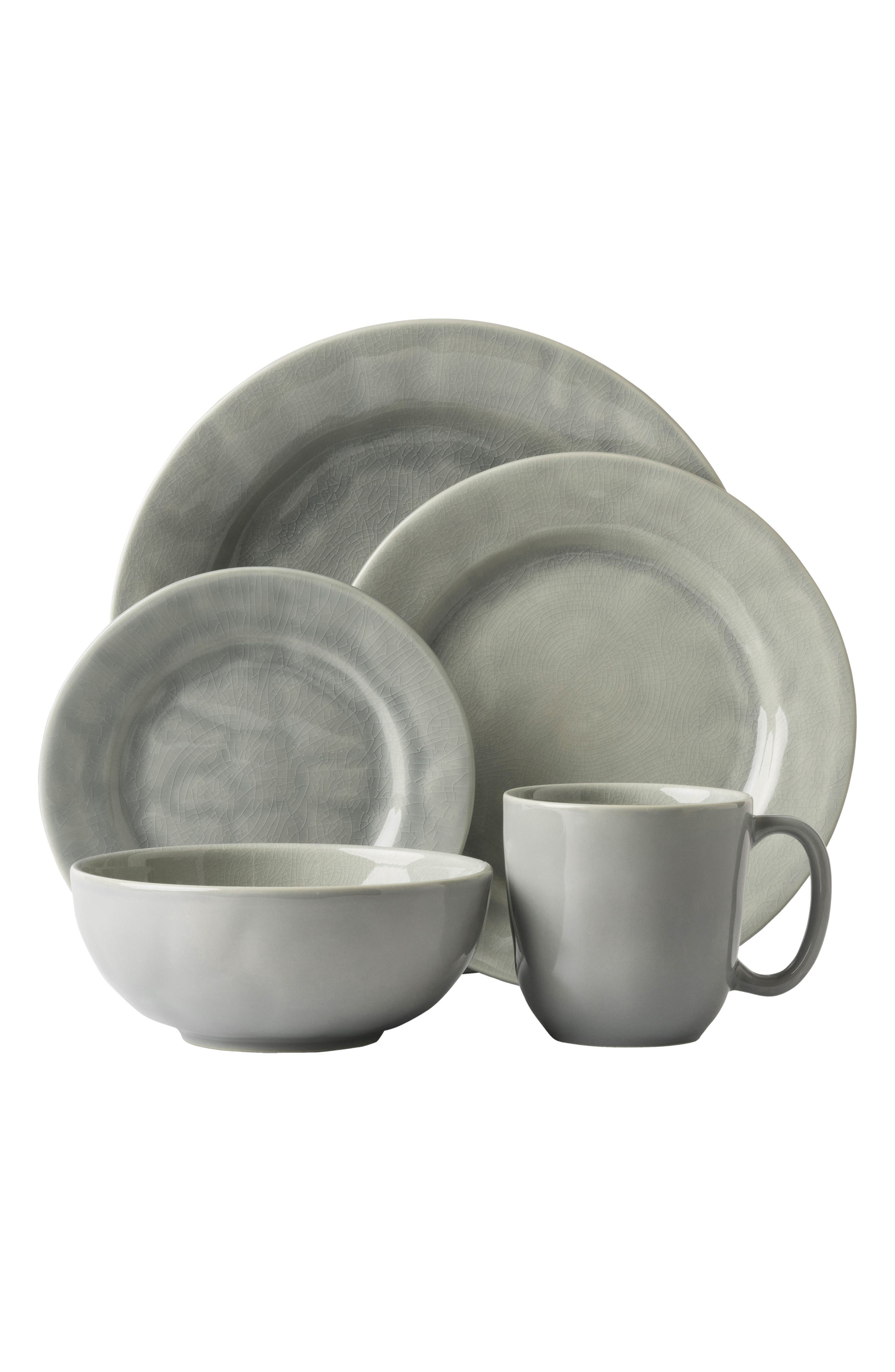 'Puro - Grey Crackle' 5-Piece Place Setting,                         Main,                         color, Grey