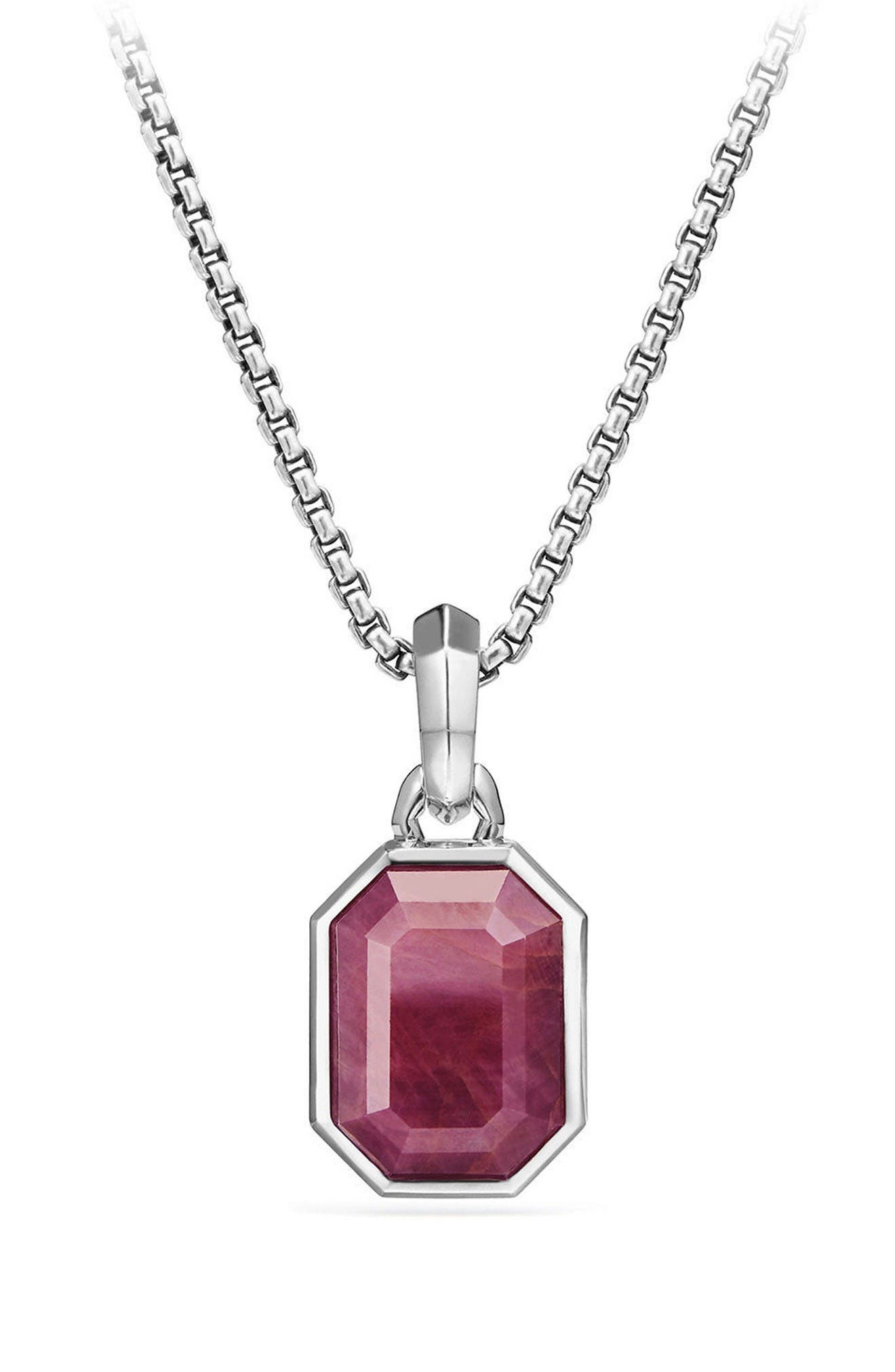 Cable Collectibles Emerald Cut Precious Stone Amulet,                         Main,                         color, Indian Ruby