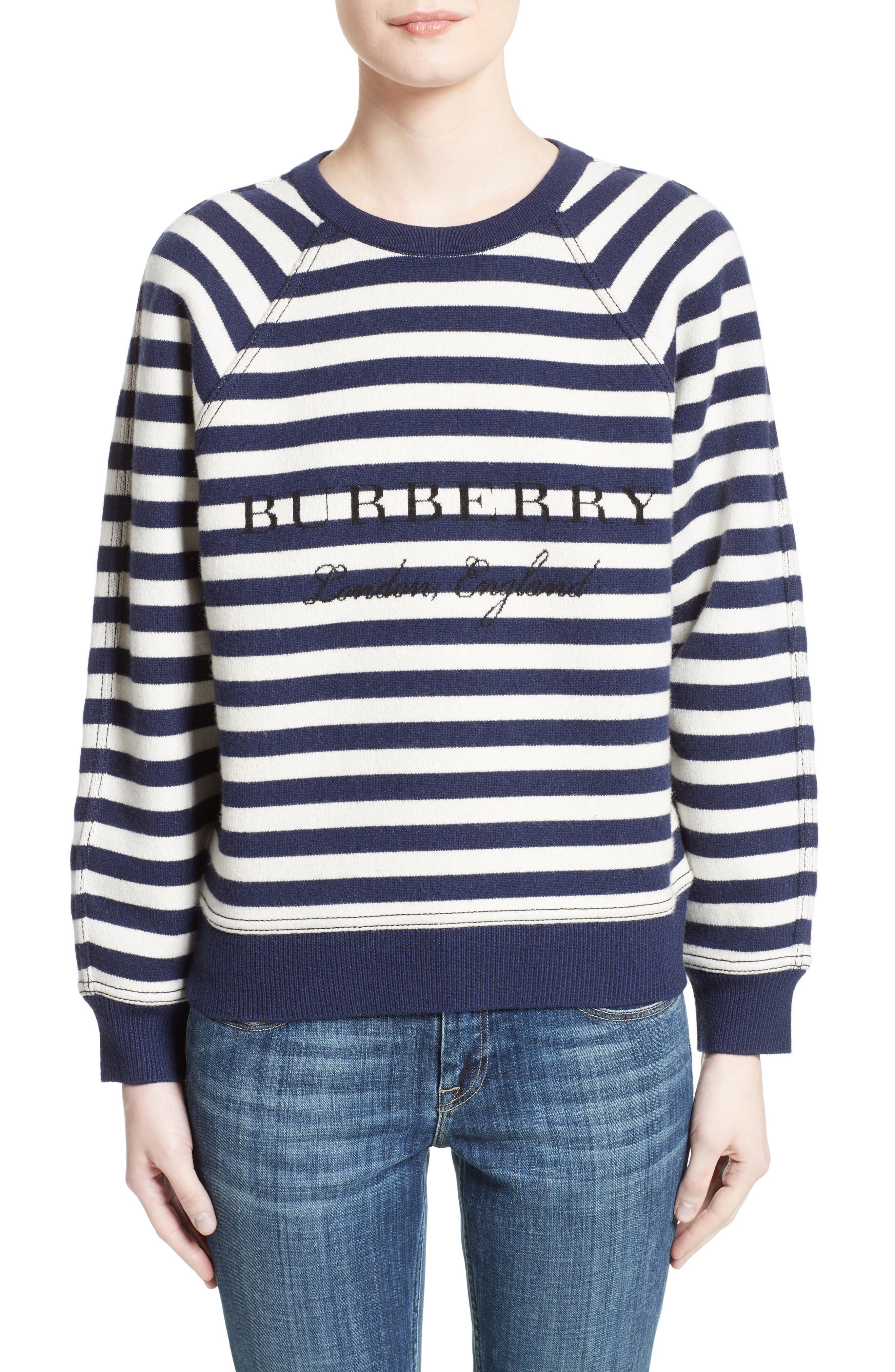 Selune Stripe Wool & Cashmere Sweater,                             Main thumbnail 1, color,                             Navy