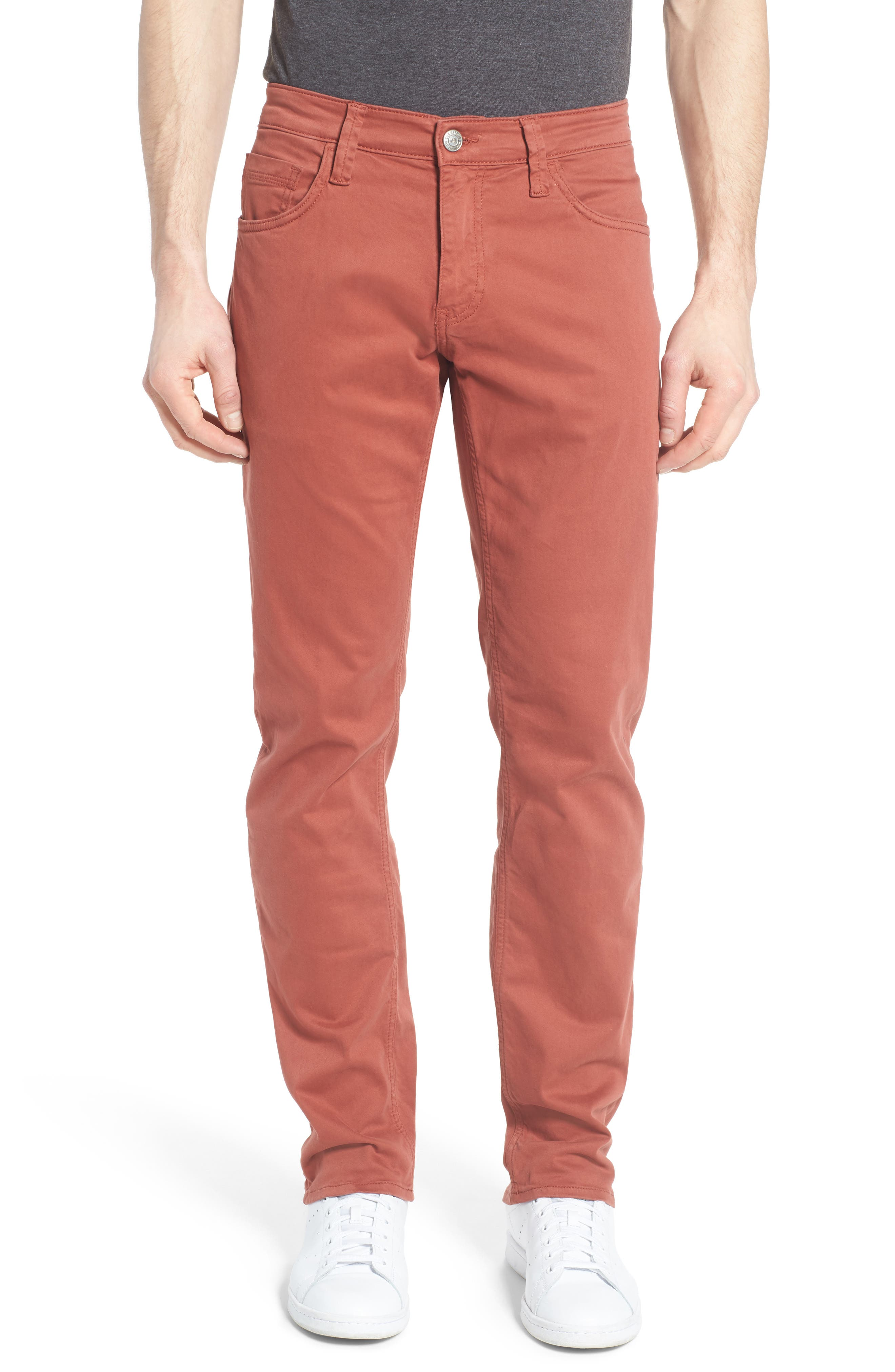 Zach Straight Leg Jeans,                             Main thumbnail 1, color,                             Brick Red Twill