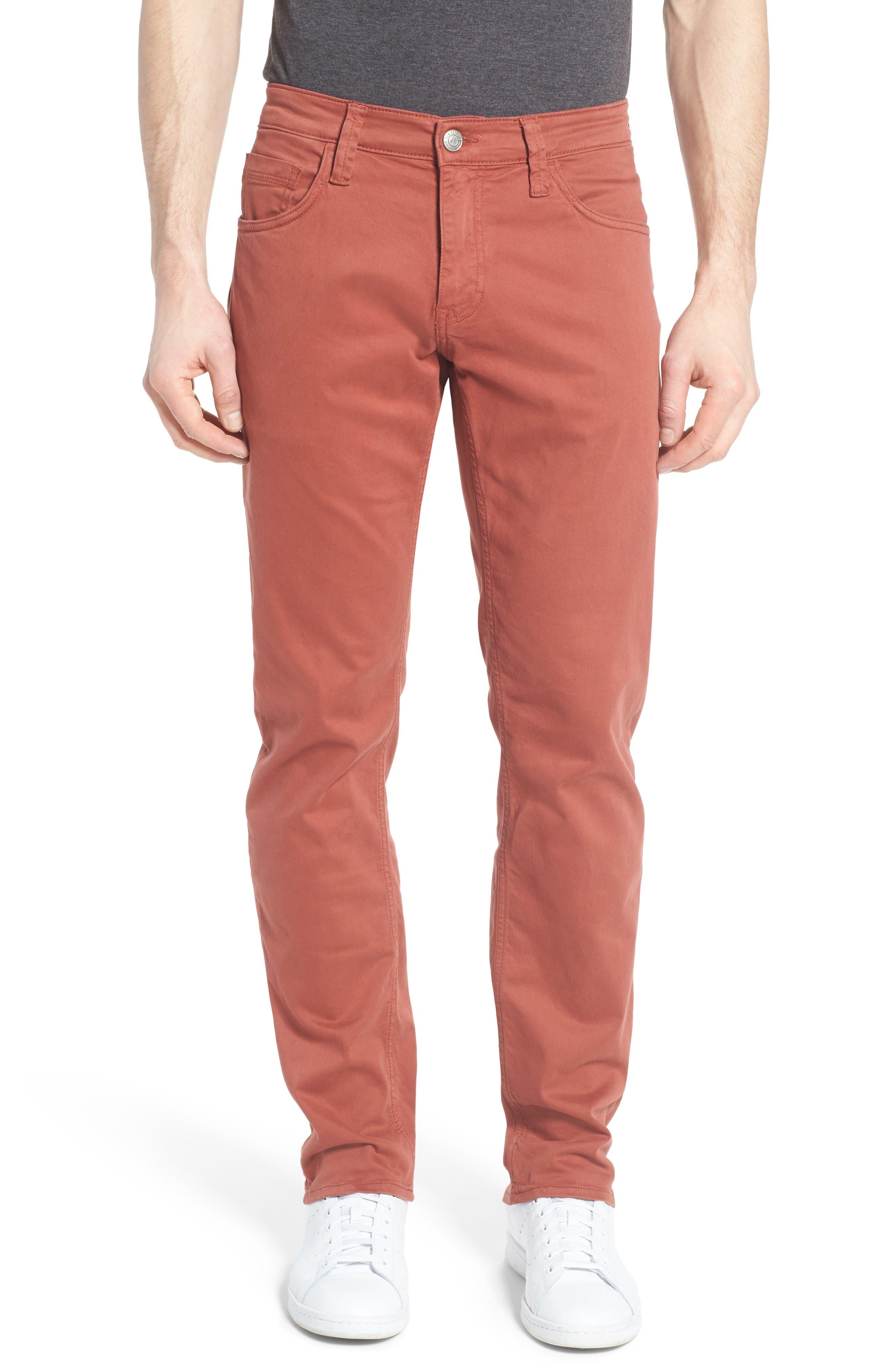 Zach Straight Leg Jeans,                         Main,                         color, Brick Red Twill