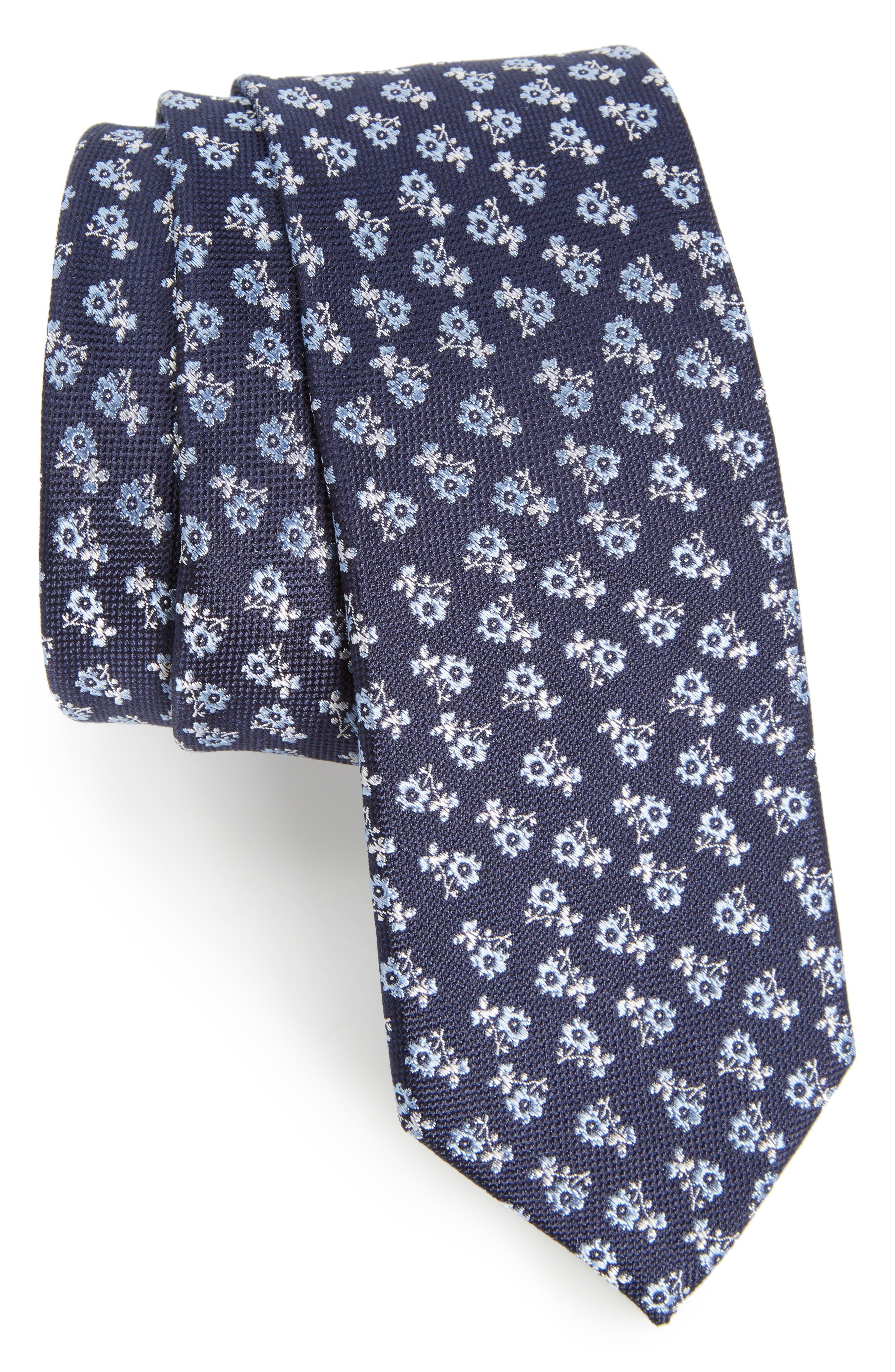 Floral Cotton Skinny Tie,                         Main,                         color, Navy