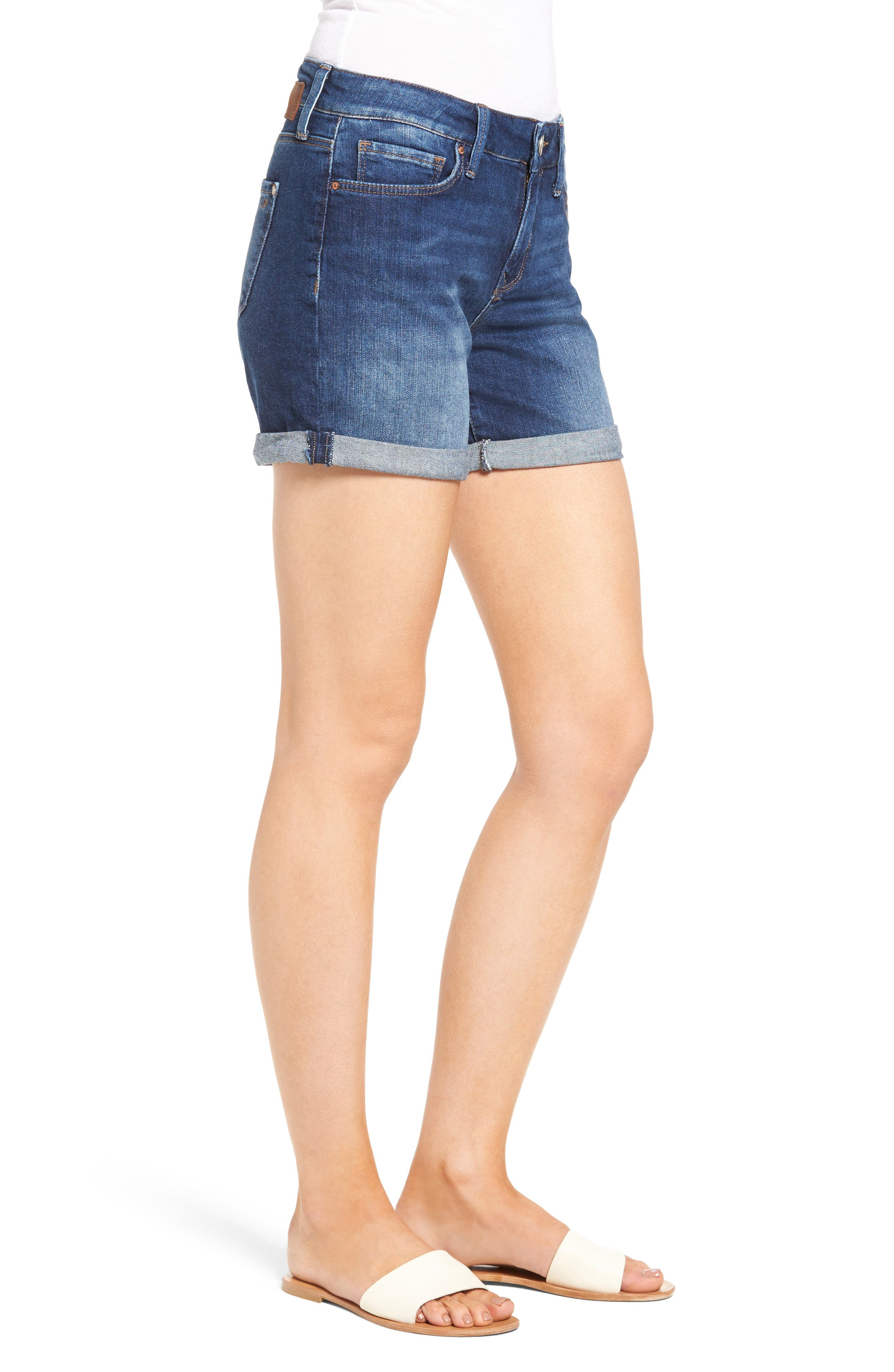 Marla Roll Cuff Denim Shorts,                             Alternate thumbnail 3, color,                             Dark