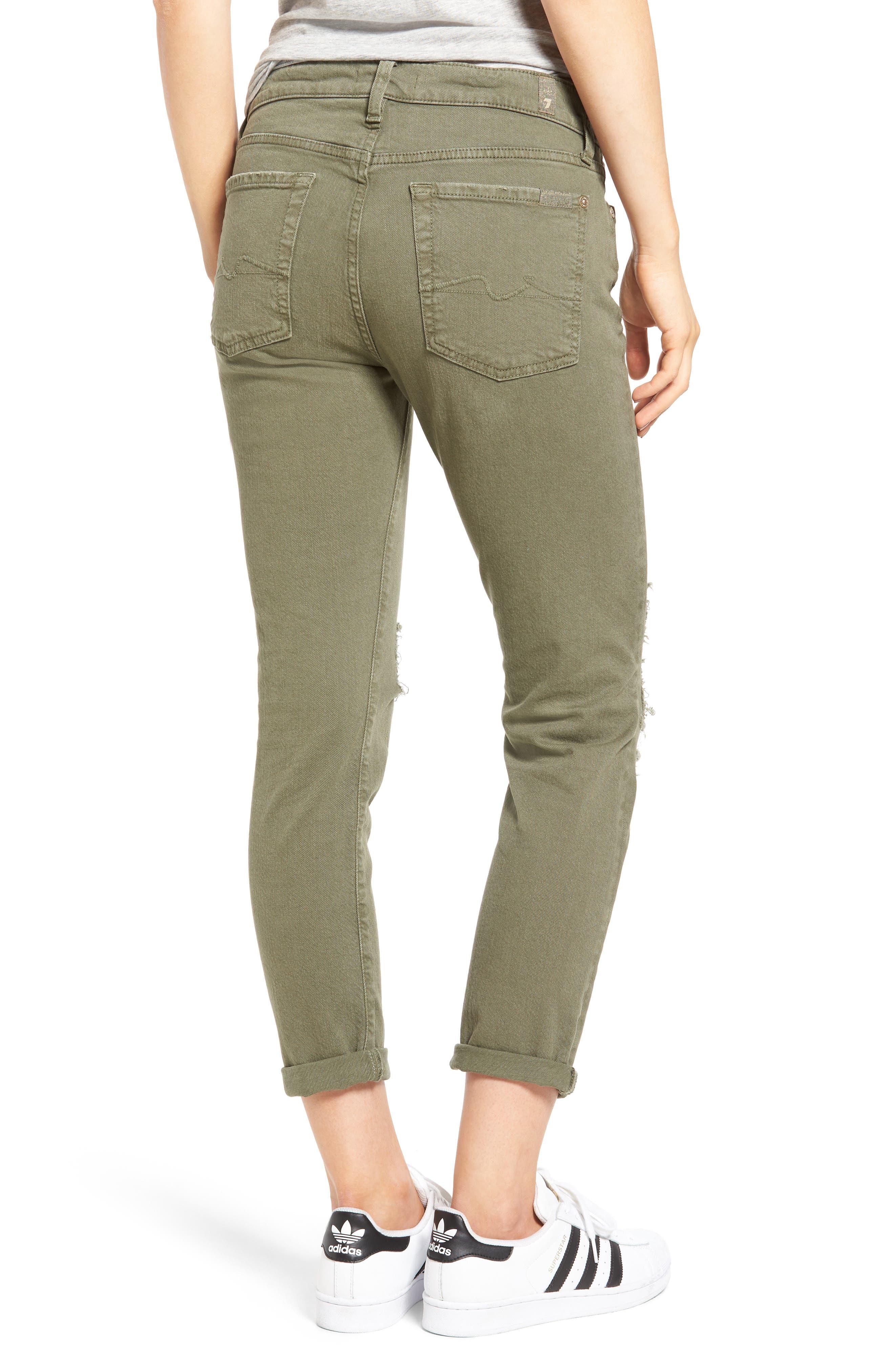 Josefina Destroyed Boyfriend Jeans,                             Alternate thumbnail 2, color,                             Sun Bleached Olive