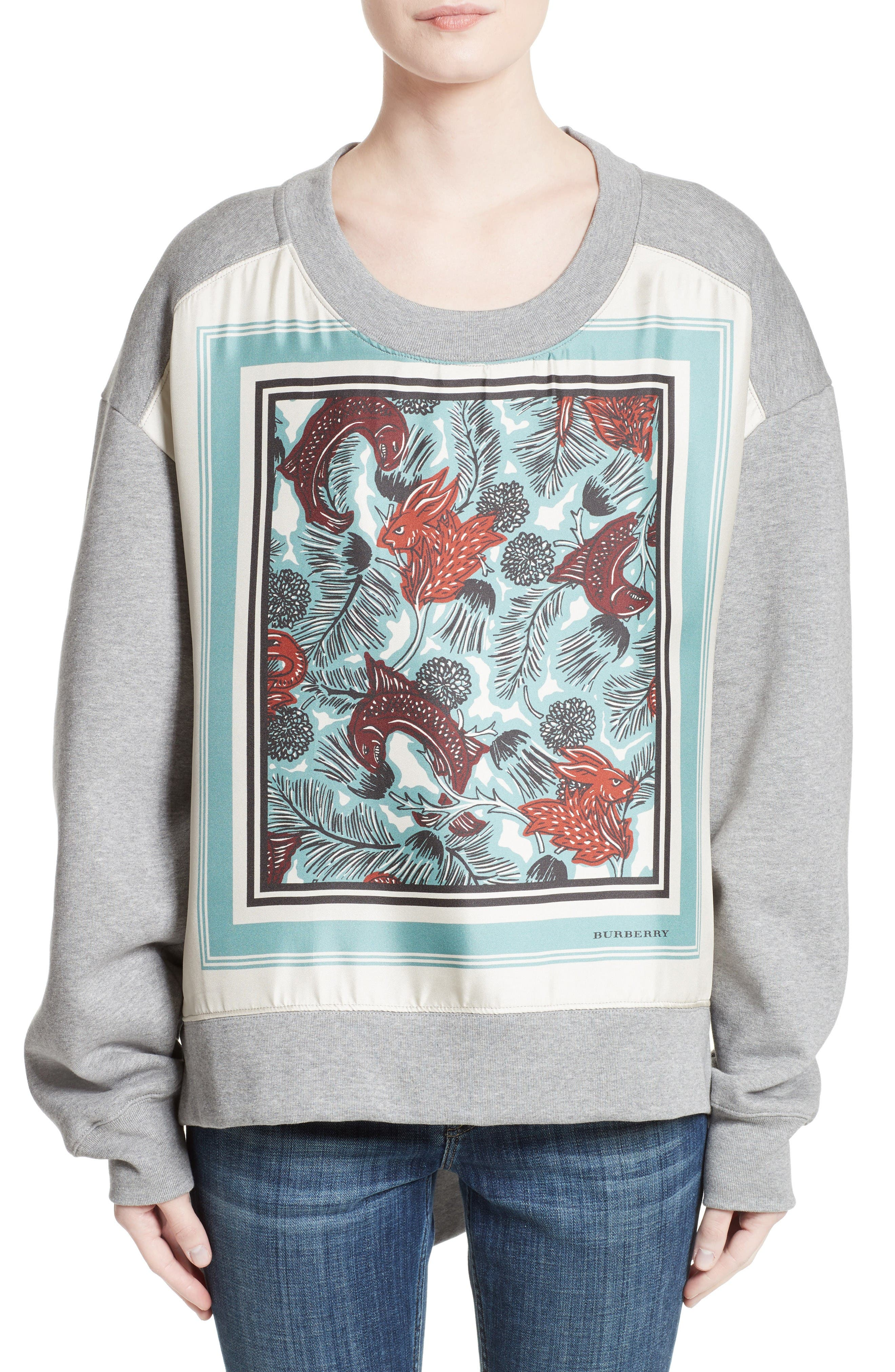 Burberry Mente Graphic High/Low Sweatshirt