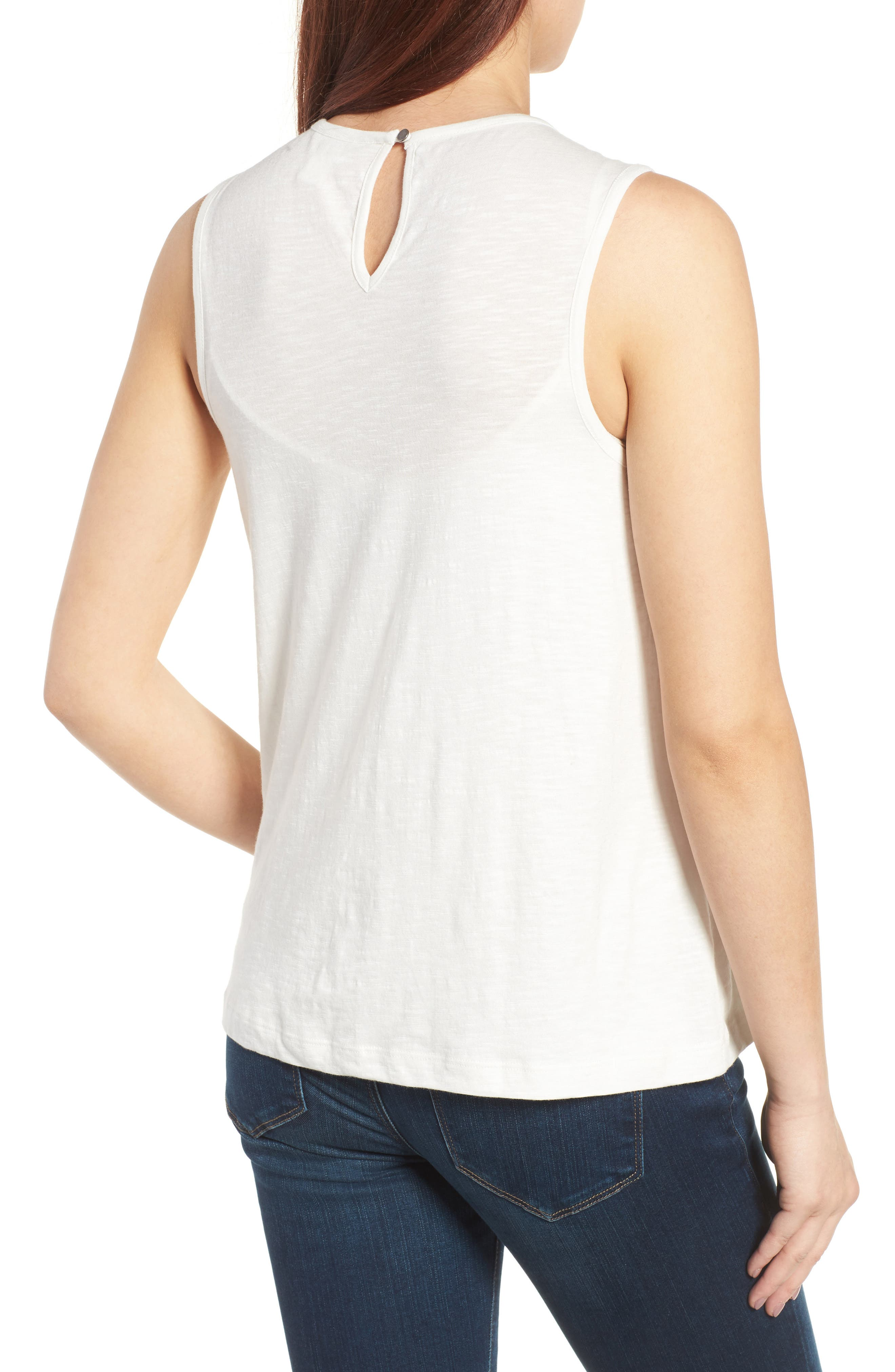 Embroidered Yoke Tank,                             Alternate thumbnail 2, color,                             Ivory- Yellow Embroidery