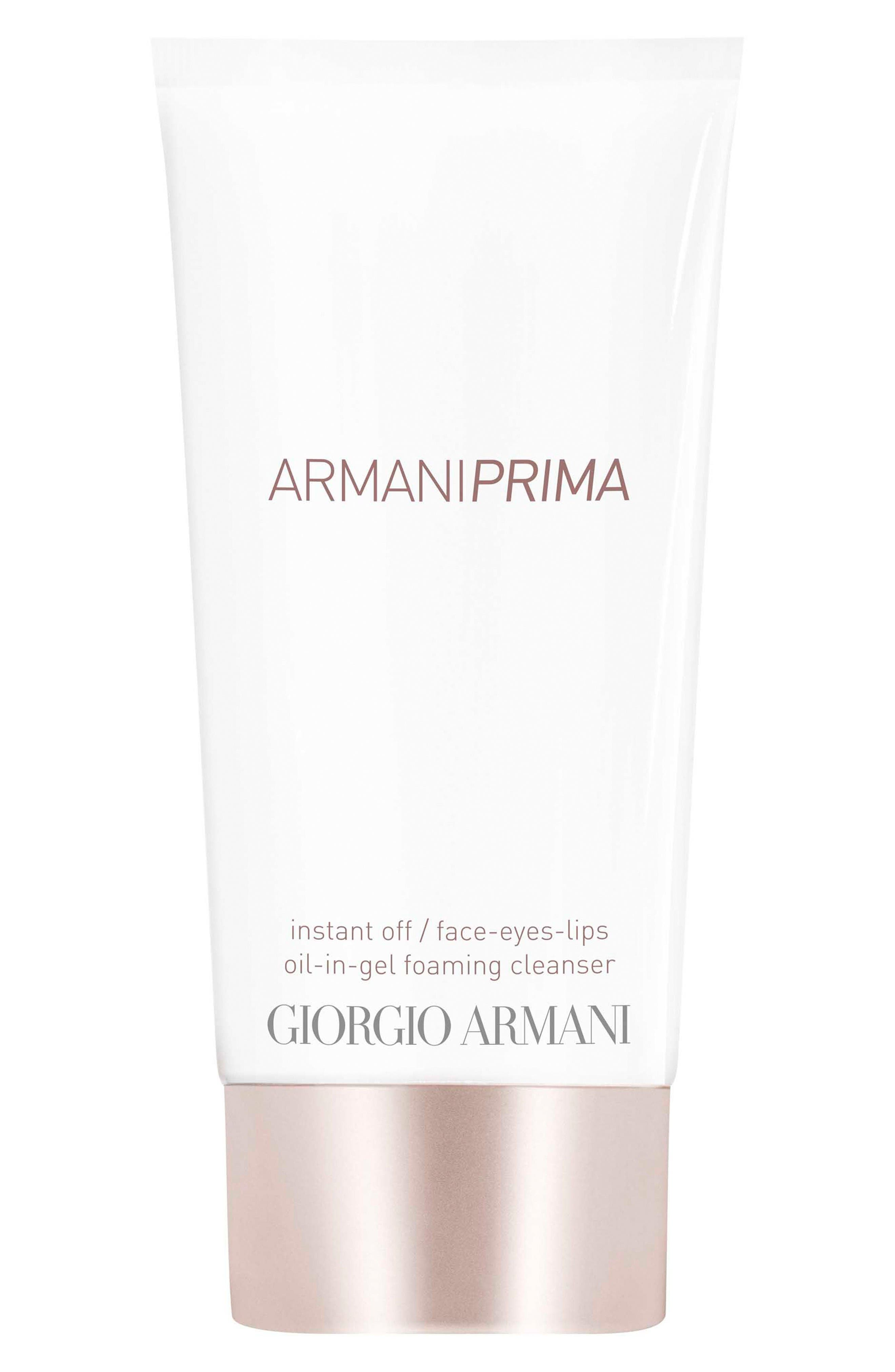 Main Image - Giorgio Armani Prima Instant Off Face, Eyes & Lips Oil-in-Gel Foaming Cleanser