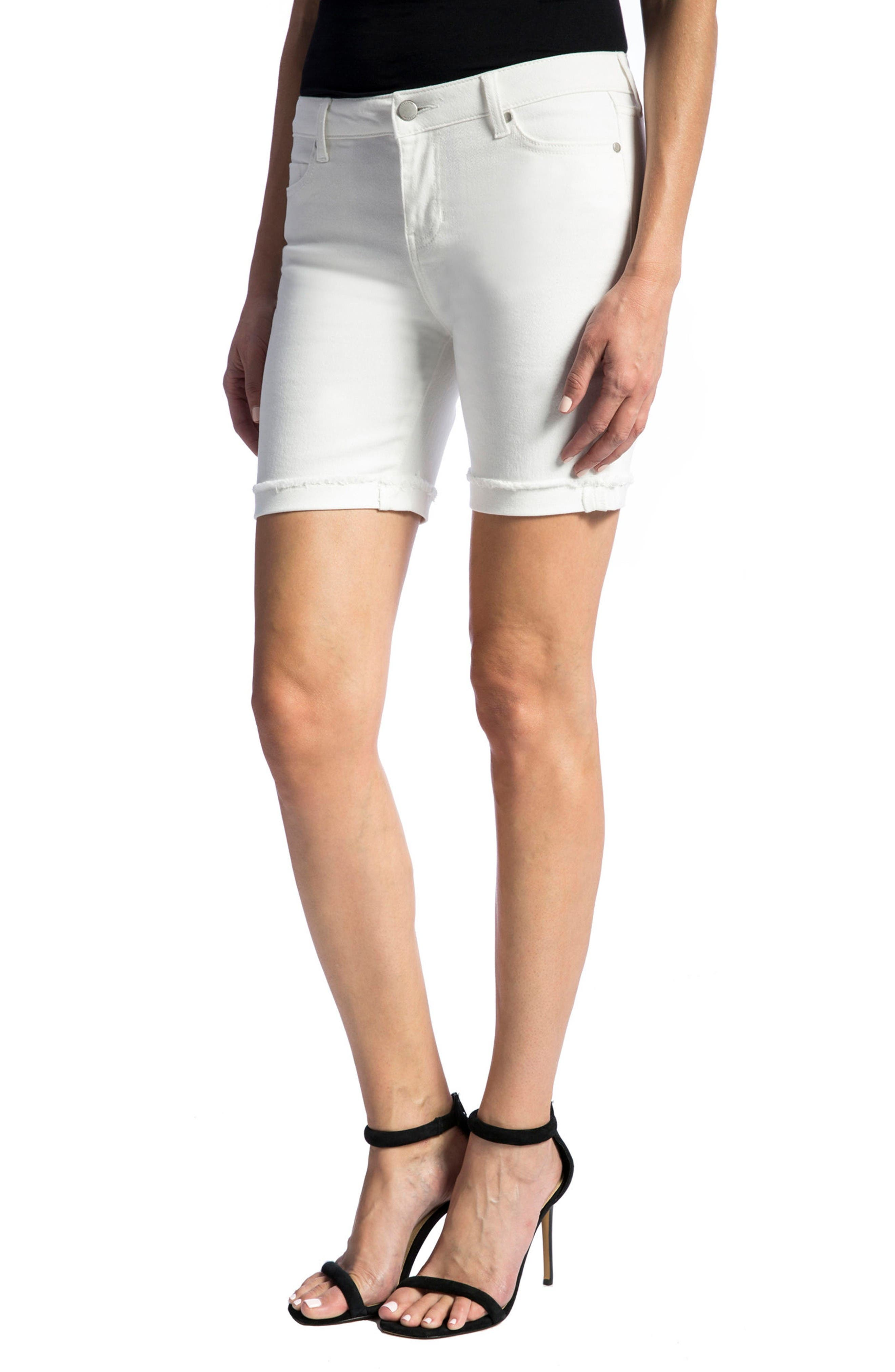 Corine Cuffed Denim Shorts,                             Alternate thumbnail 4, color,                             Bright White