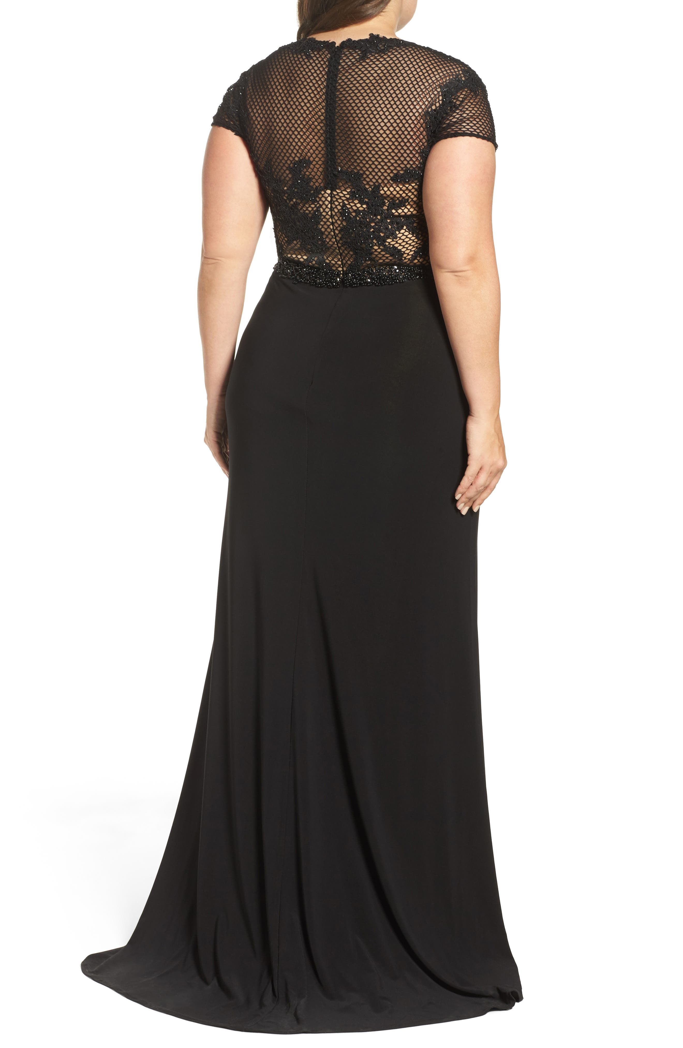 Alternate Image 2  - Mac Duggal Embellished Crochet & Jersey Gown (Plus Size)
