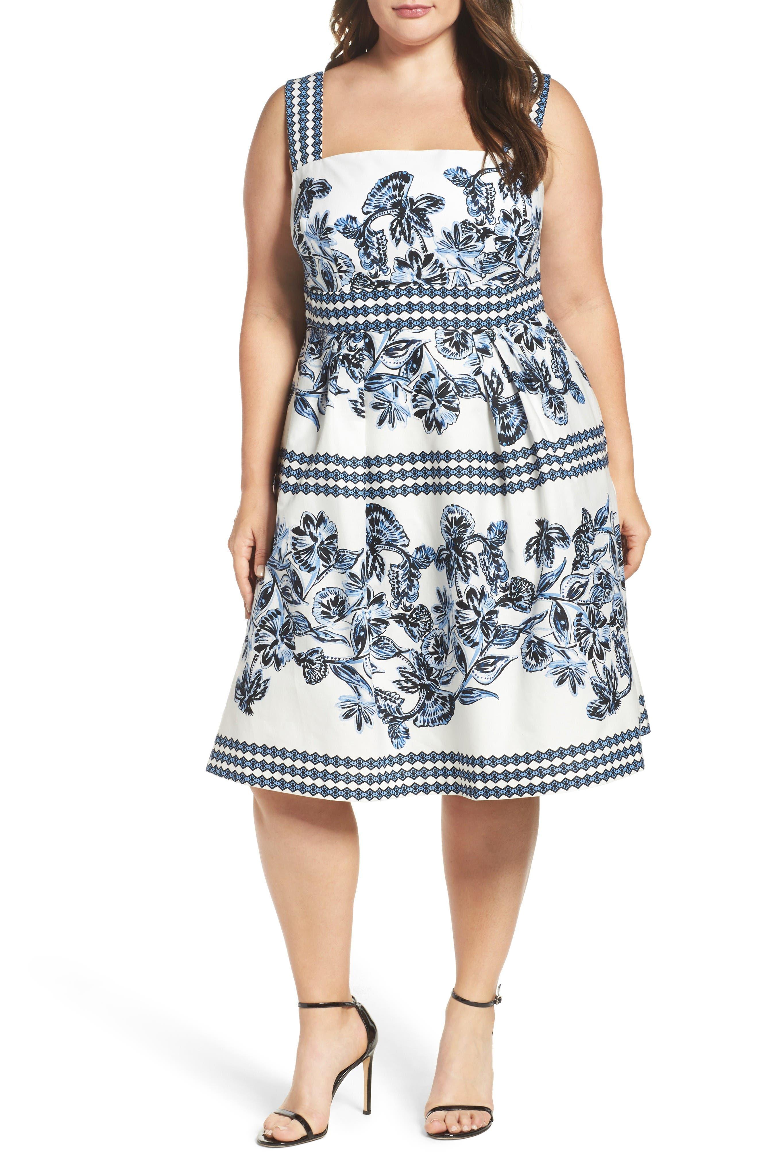 Vince Camuto Print Cotton Fit & Flare Sundress (Plus Size)
