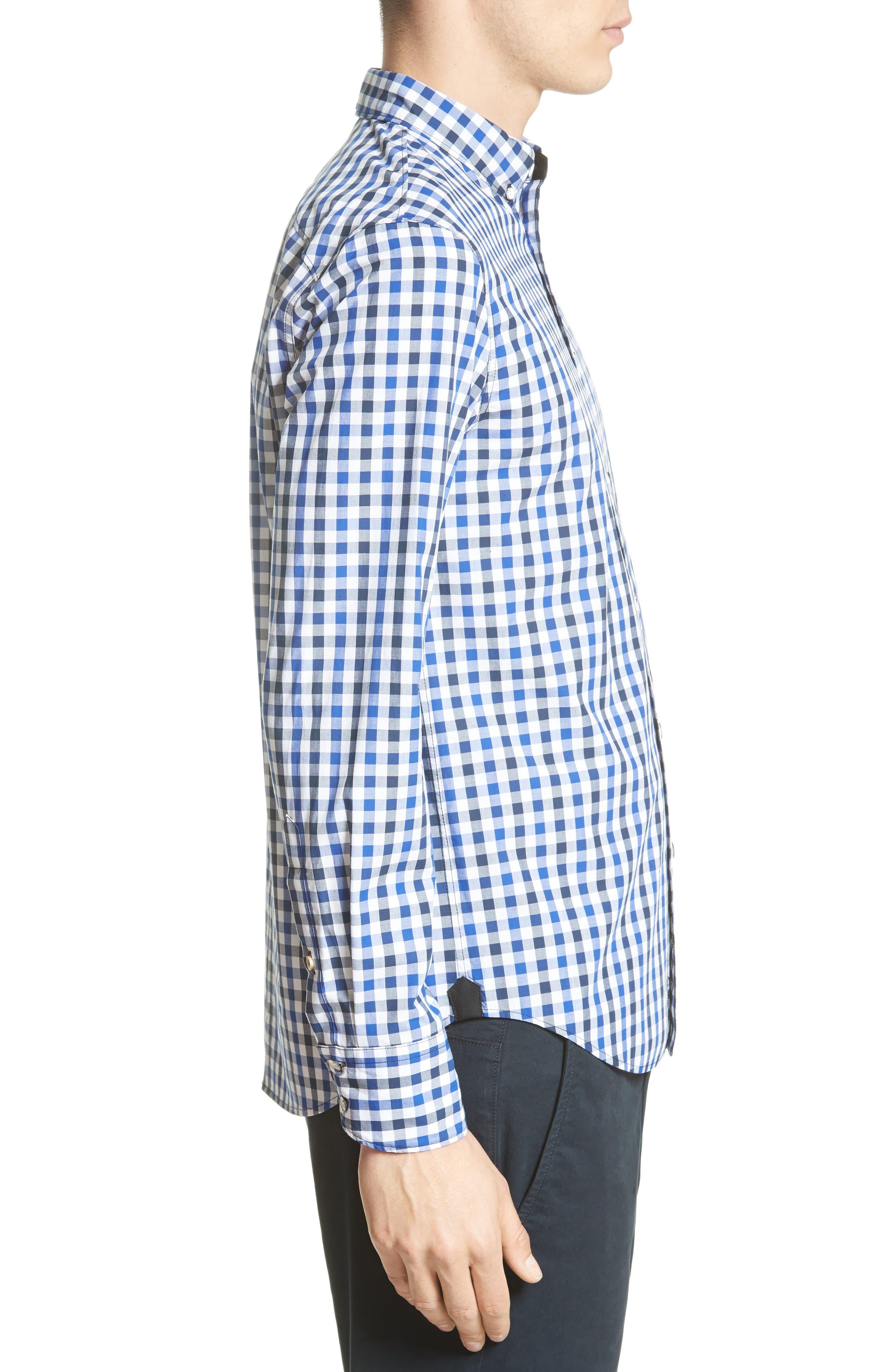 Tomlin Check Sport Shirt,                             Alternate thumbnail 3, color,                             Navy Check