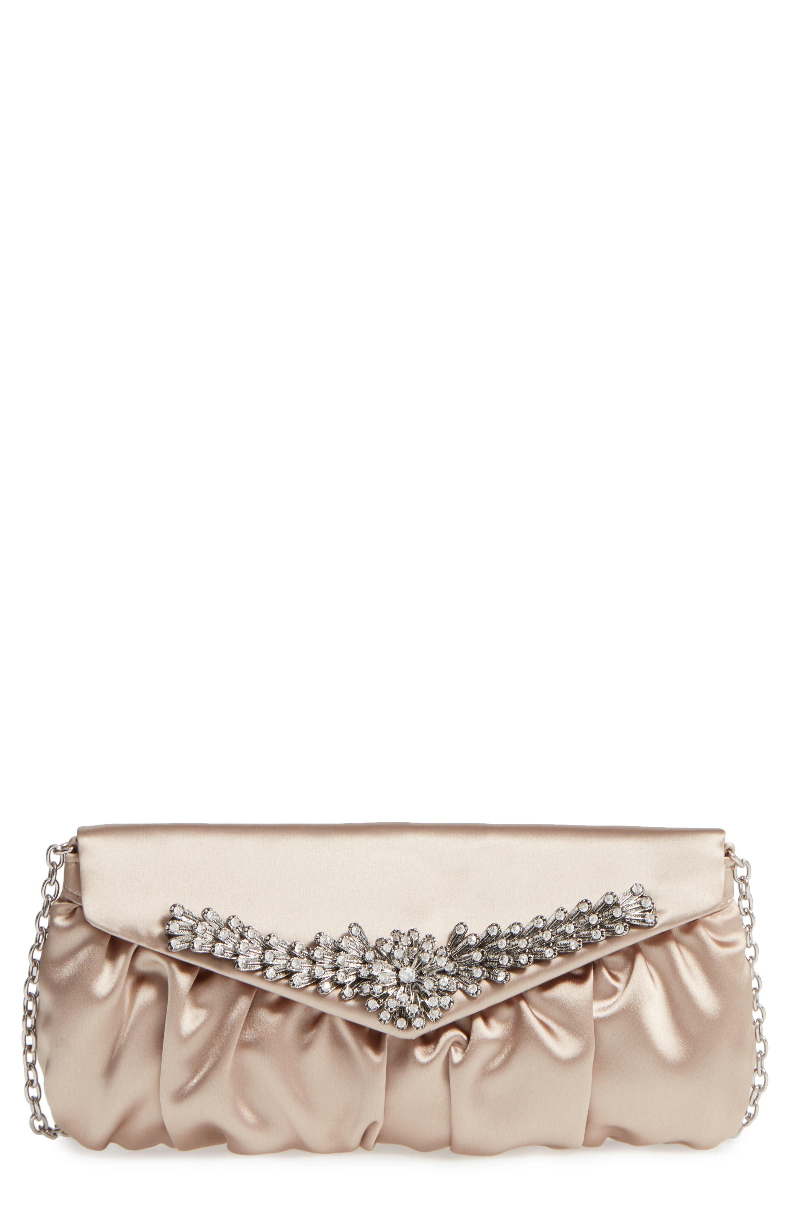 Caracas Crystal Embellished Clutch,                             Main thumbnail 1, color,                             Stone