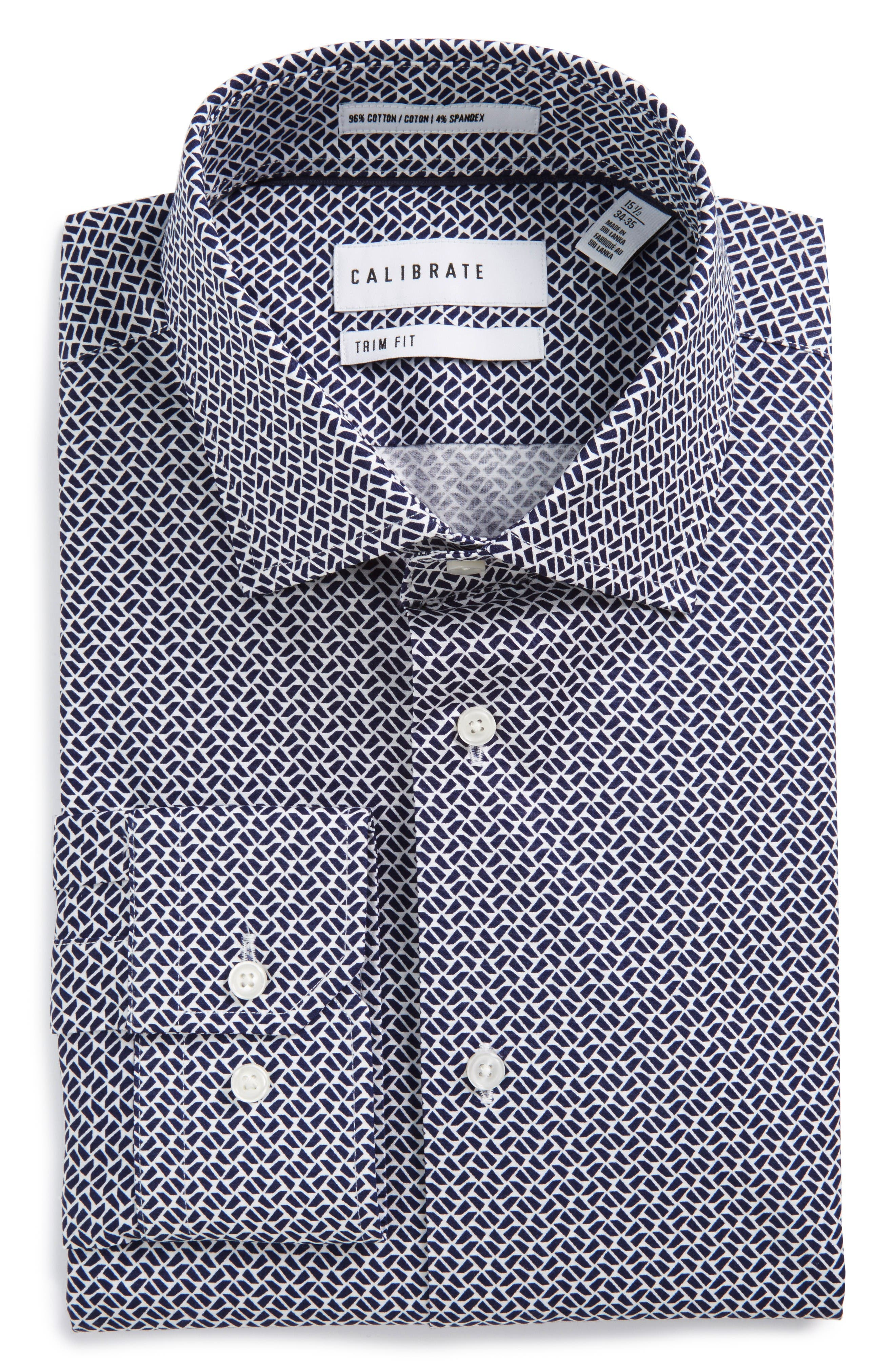CALIBRATE Trim Fit Geometric Stretch Dress Shirt