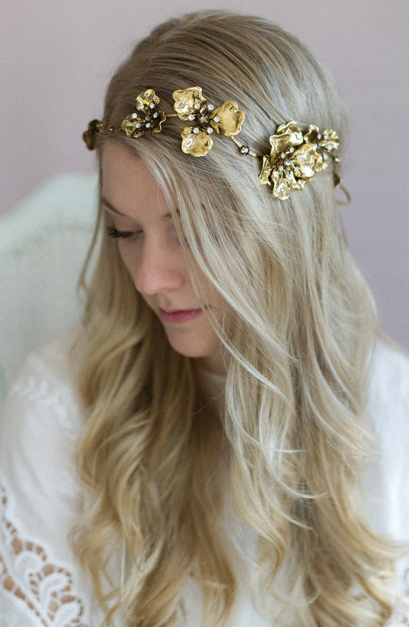 Wavy Gilded Antique Flower Headband,                         Main,                         color, Antique Gold