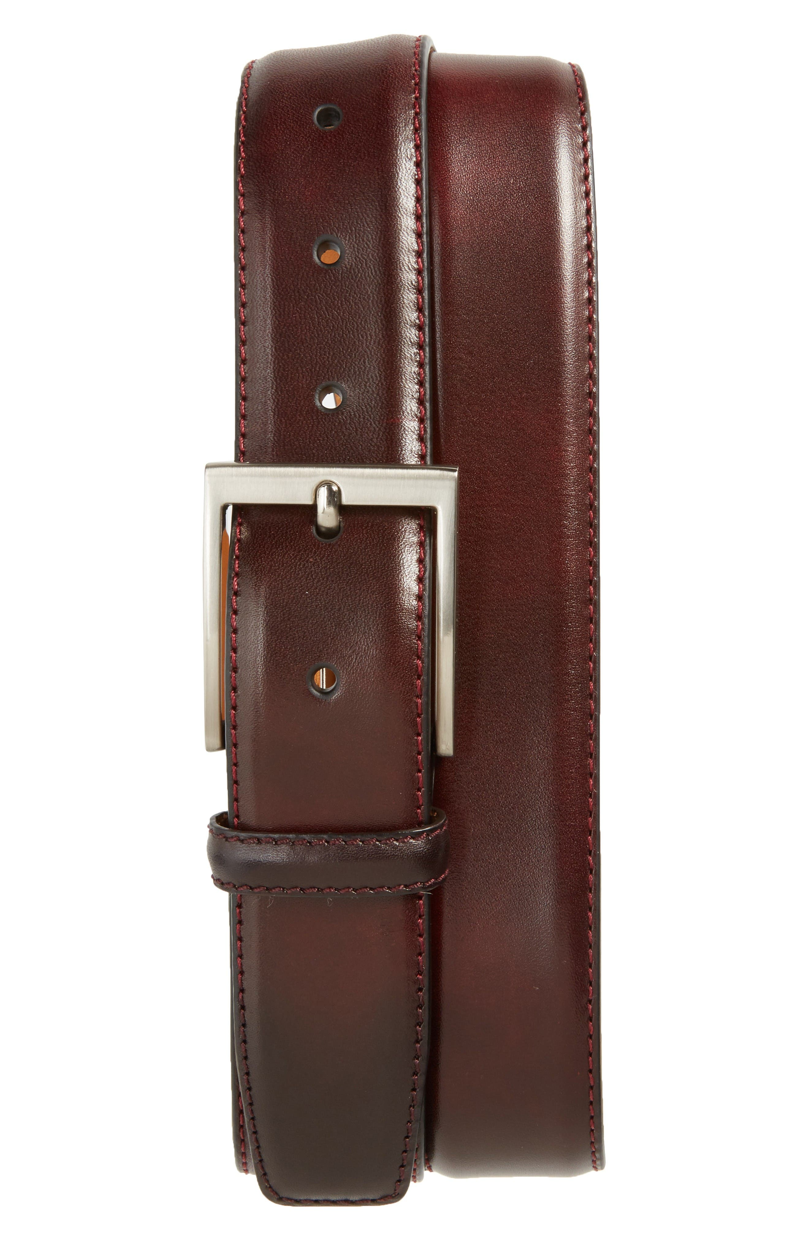 Catania Leather Belt,                         Main,                         color, Burgundy