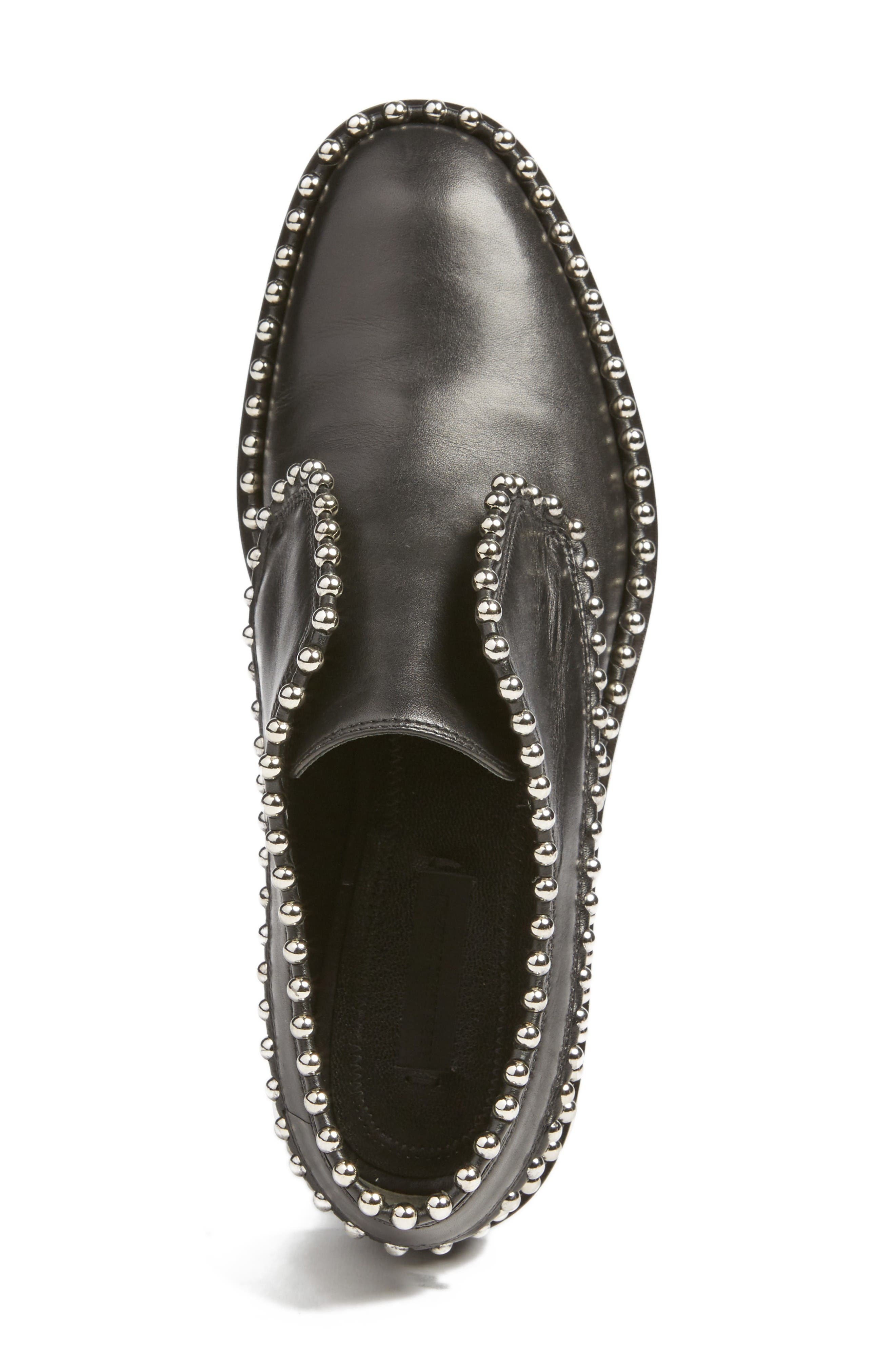 Wendie Studded Oxford,                             Alternate thumbnail 4, color,                             Black Leather