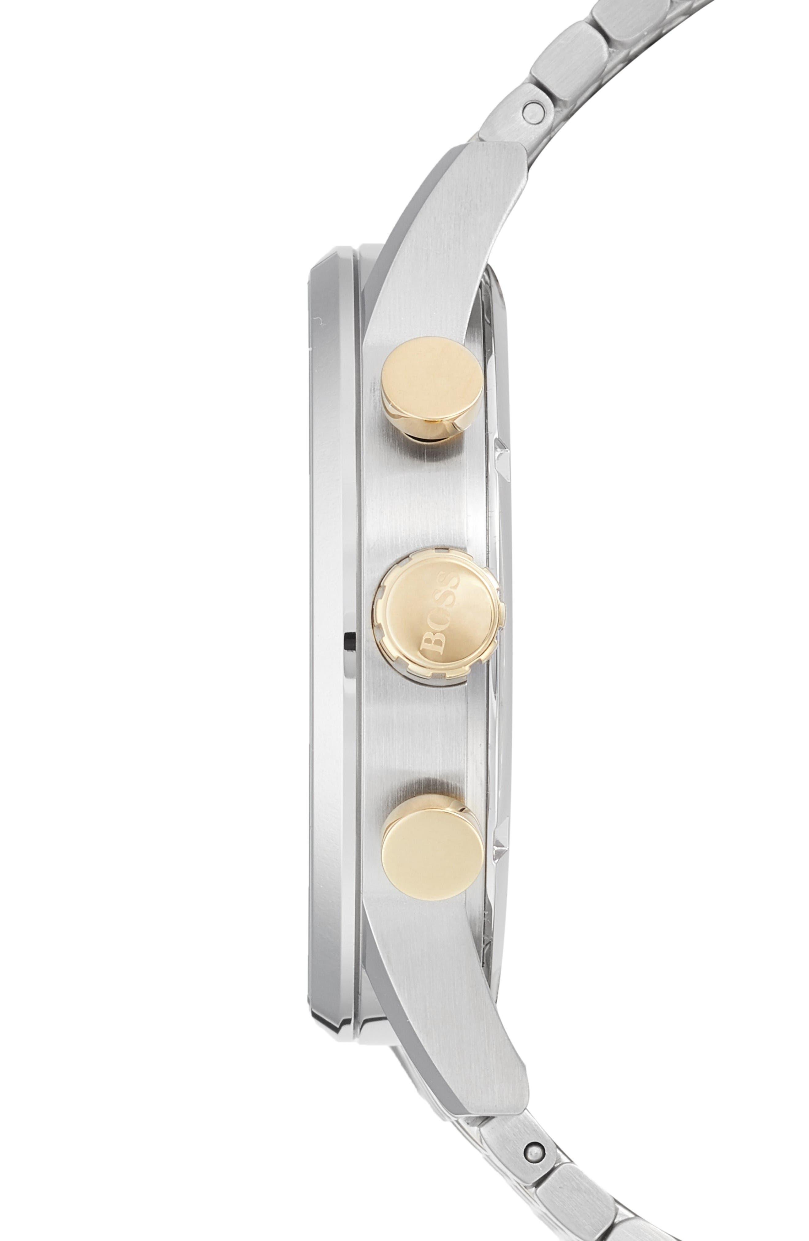 Navigator Chronograph Bracelet Watch, 44mm,                             Alternate thumbnail 3, color,                             Silver/ Silver