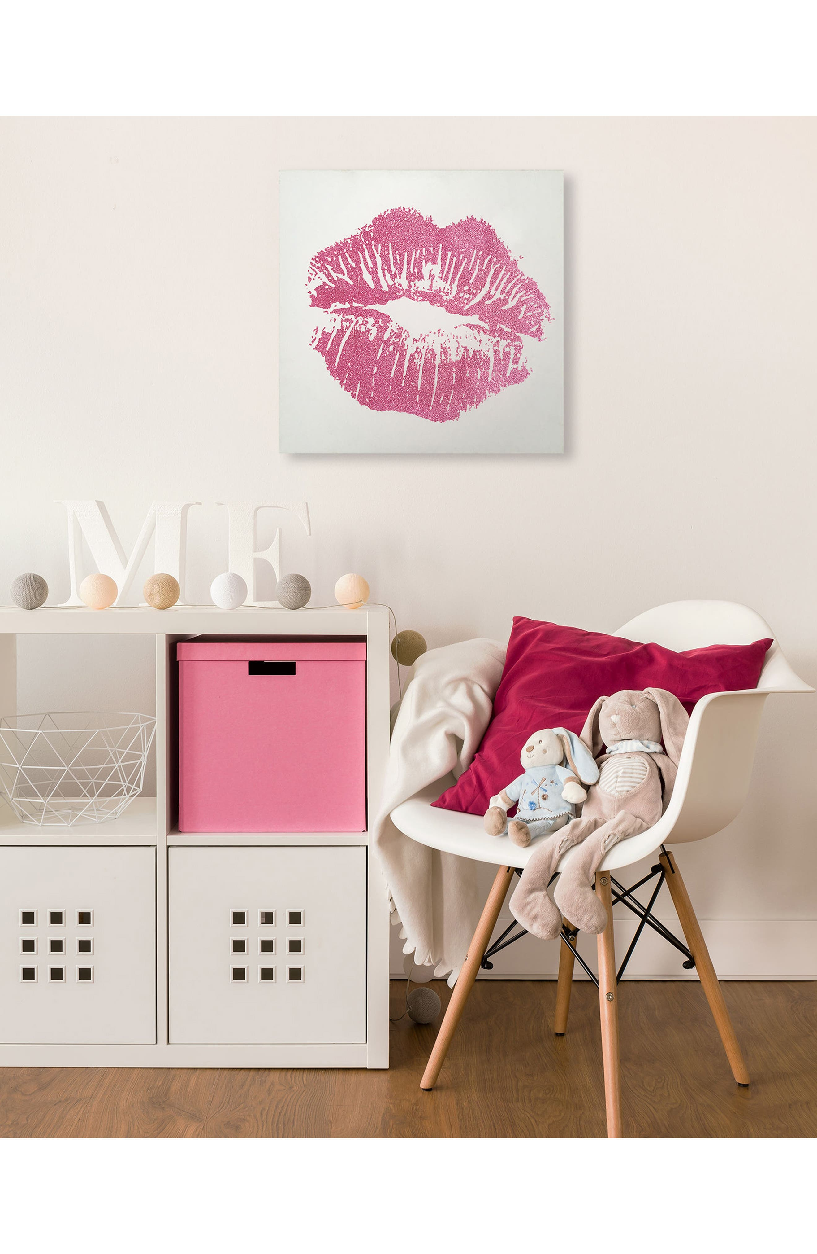 Wynwood Simple Kiss Canvas Wall Art,                             Alternate thumbnail 2, color,                             White/ Pink