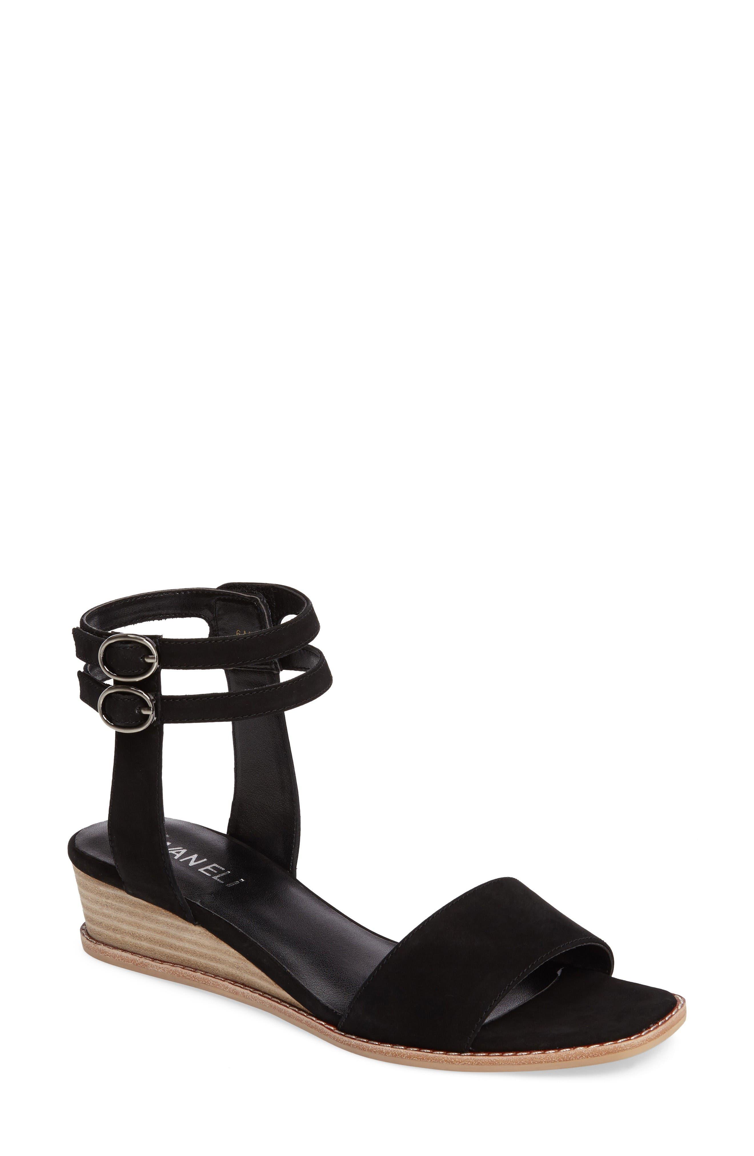 Jarita Ankle Strap Sandal,                         Main,                         color, Black Leather
