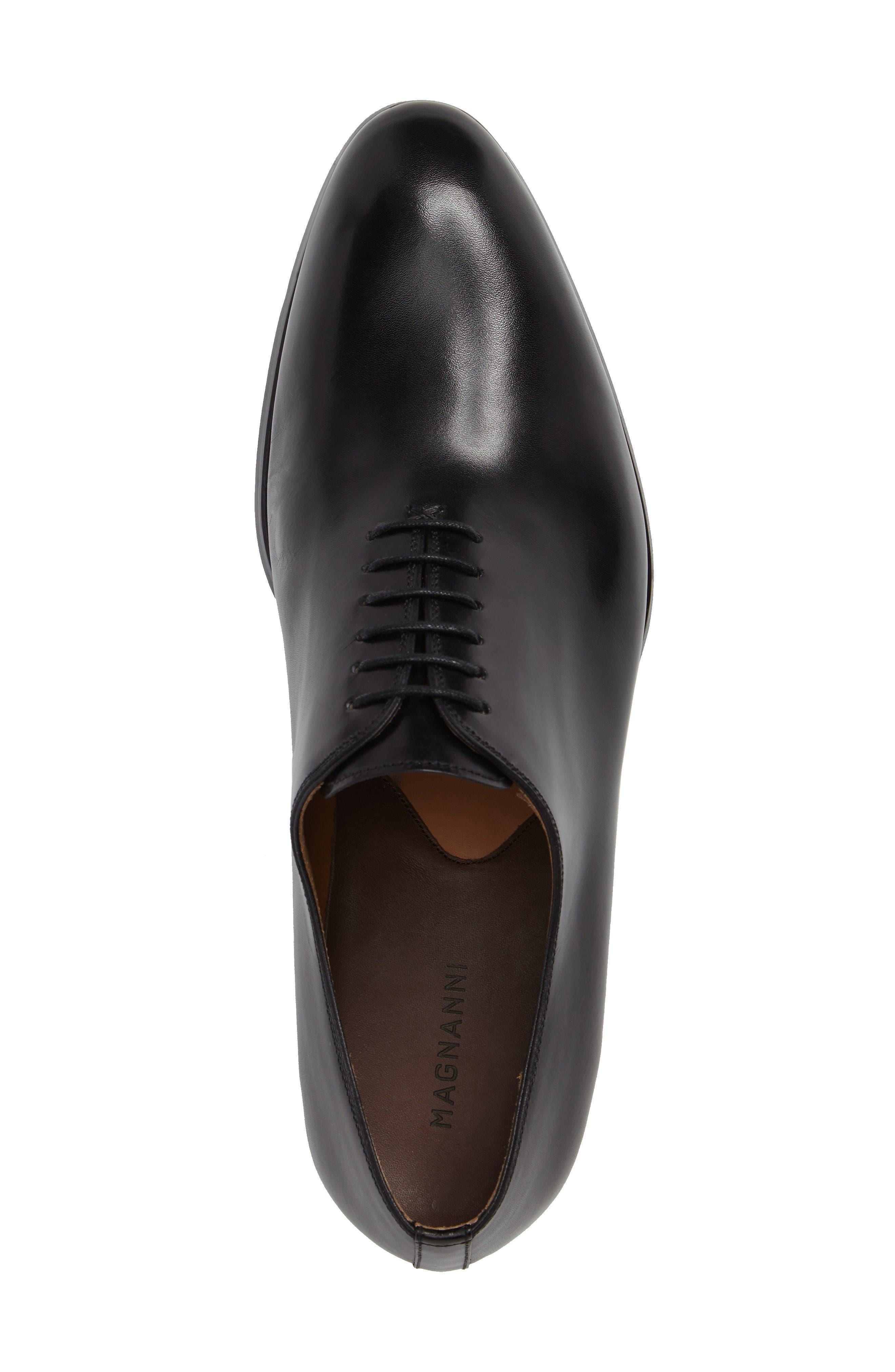 Montay Wholecut Oxford,                             Alternate thumbnail 5, color,                             Black Leather