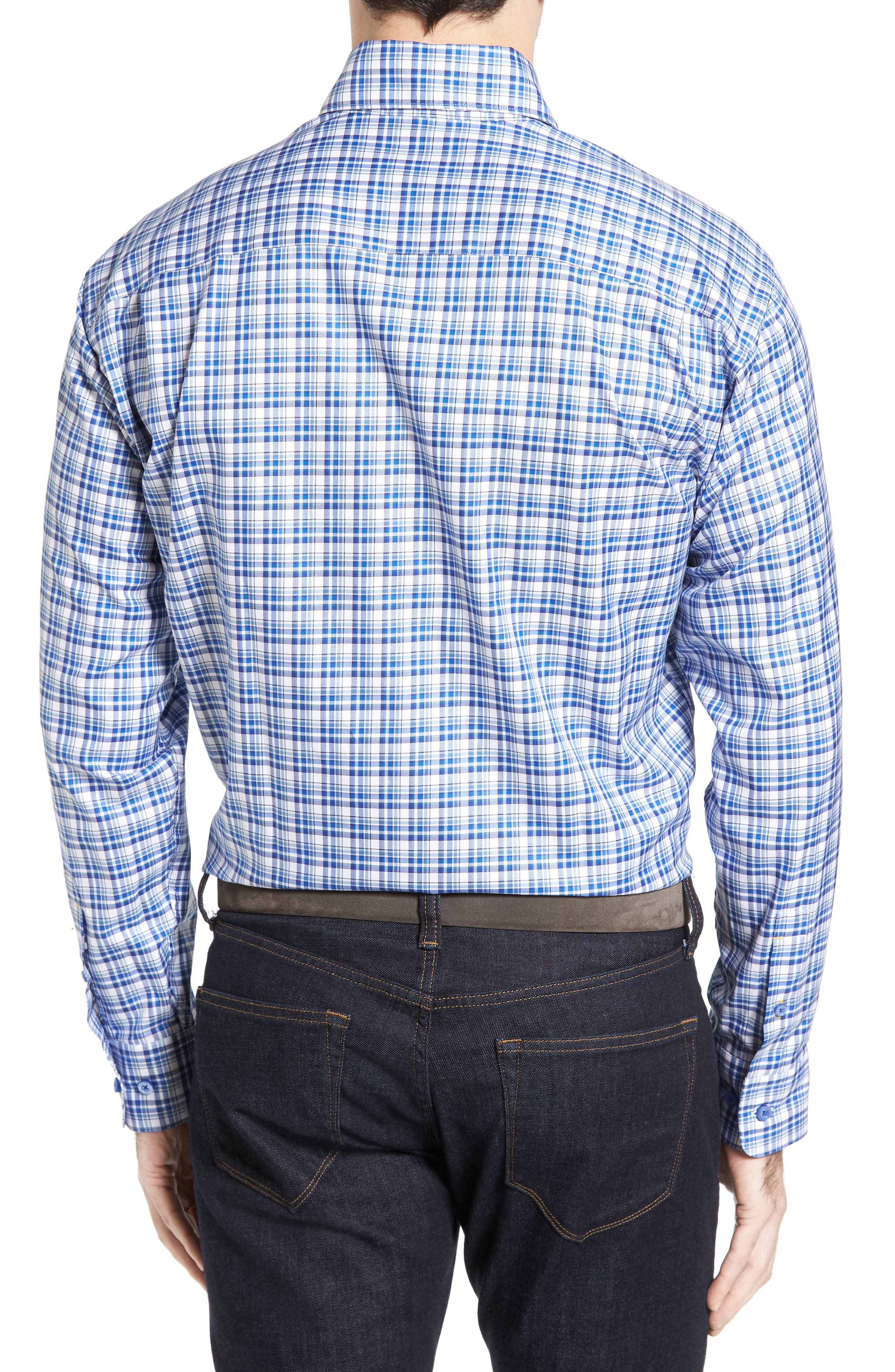 Anderson Classic Fit Plaid Micro Twill Sport Shirt,                             Alternate thumbnail 2, color,                             Pacific