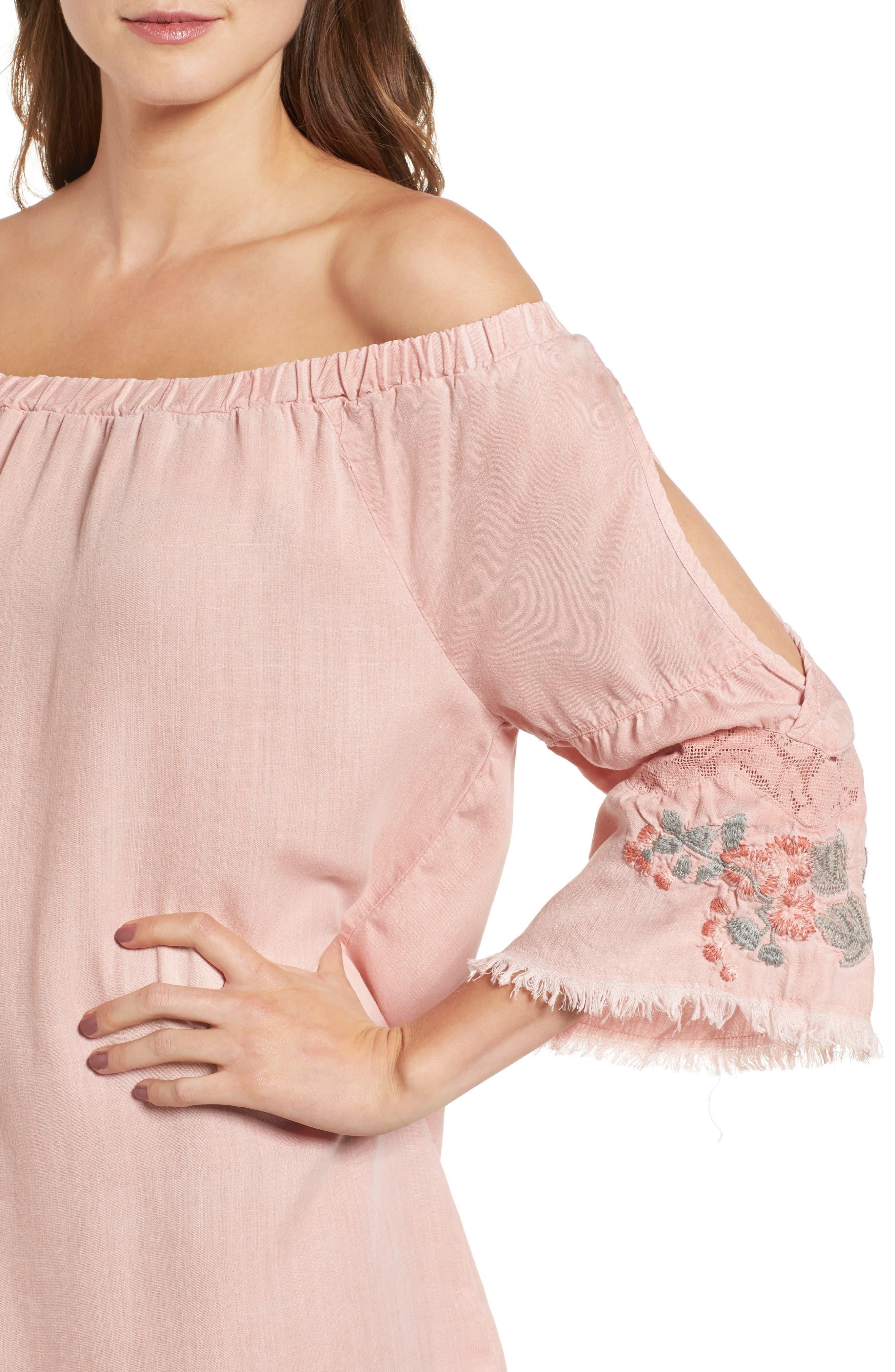 Off the Shoulder Denim Dress,                             Alternate thumbnail 4, color,                             Dusty Pink