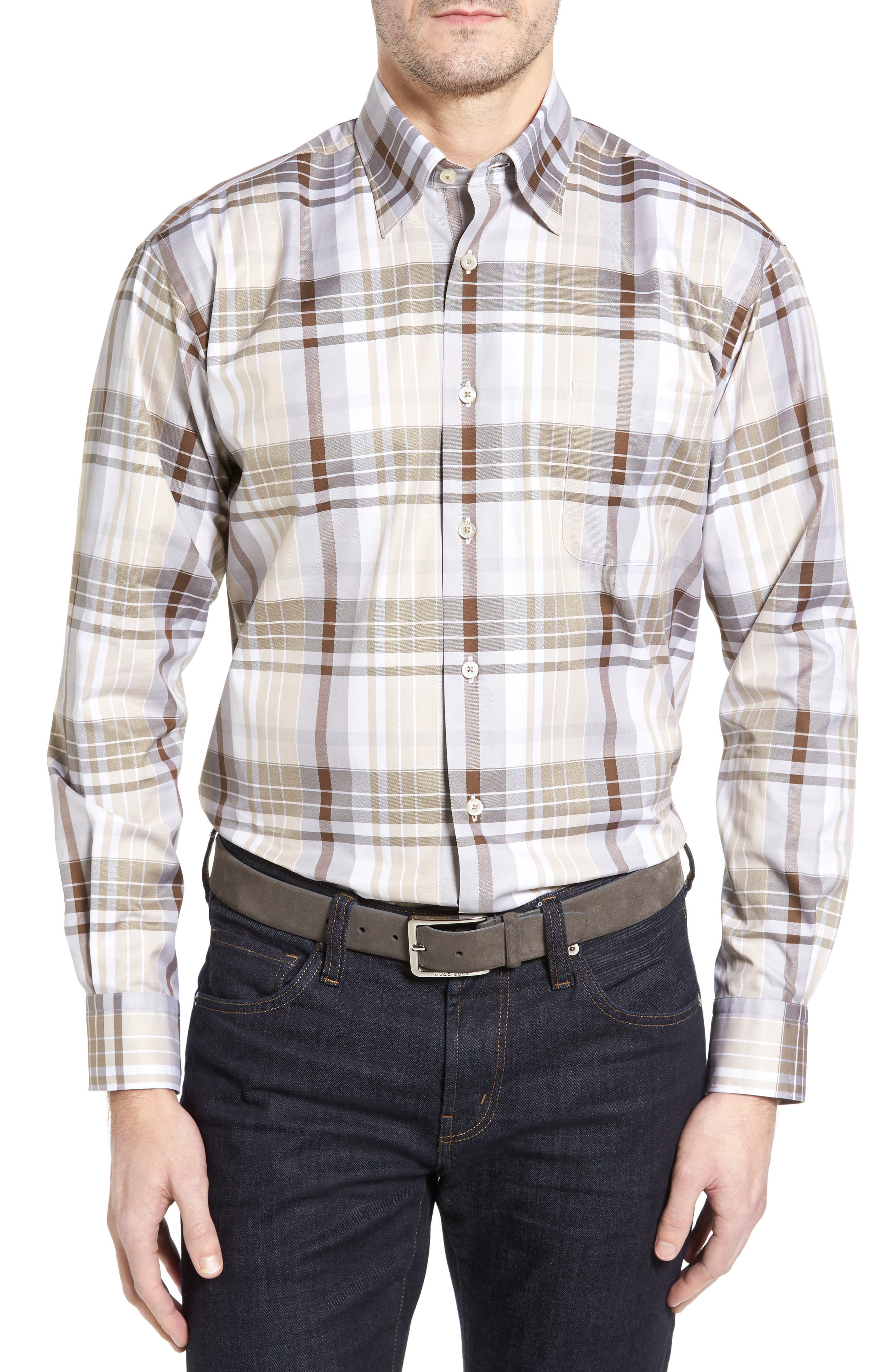 Anderson Classic Fit Plaid Micro Twill Sport Shirt,                             Main thumbnail 1, color,                             Desert