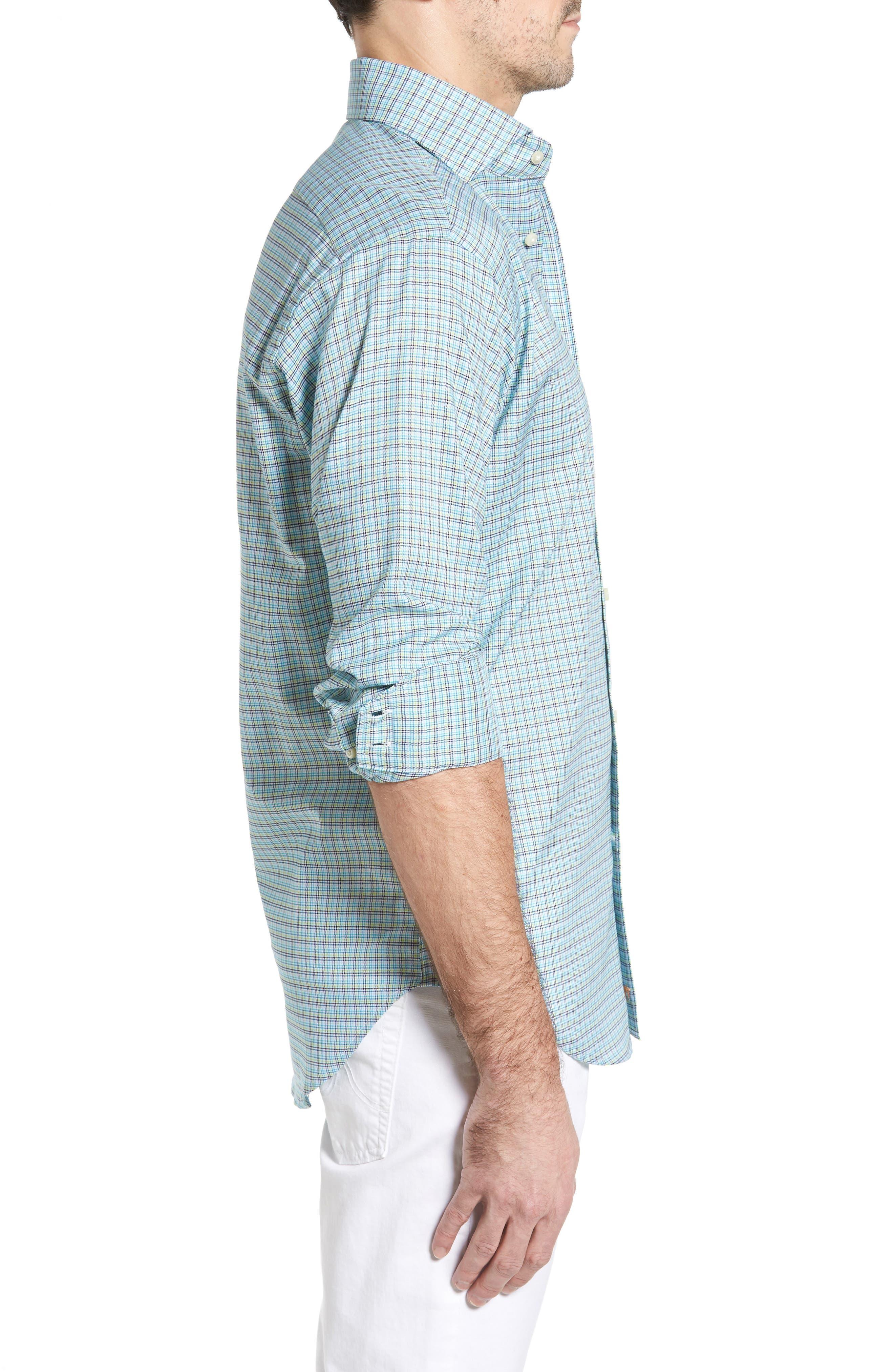 Classic Fit Textured Check Sport Shirt,                             Alternate thumbnail 3, color,                             Aqua