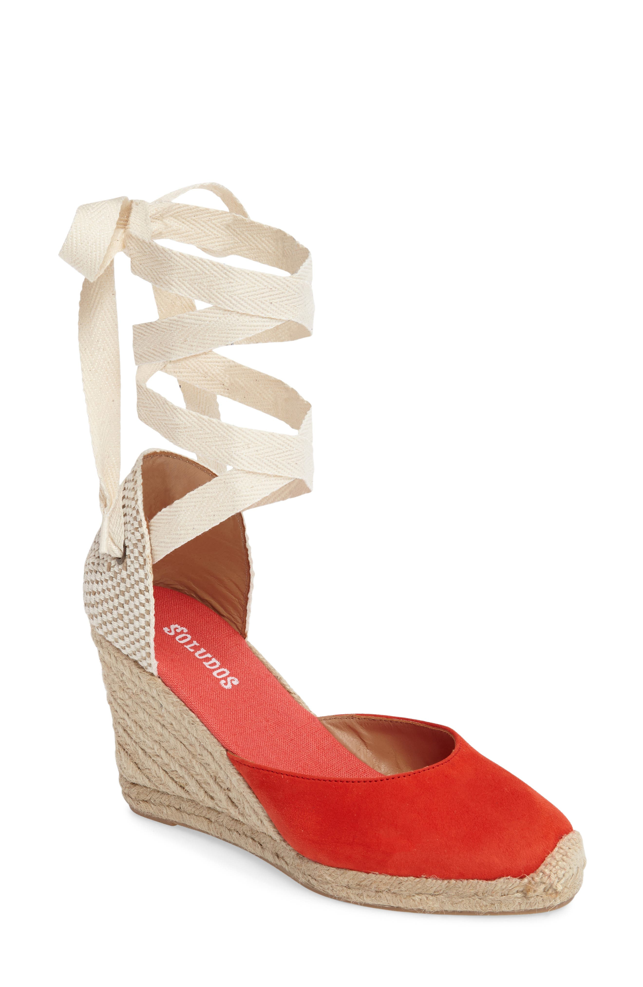 Wedge Sandal,                             Main thumbnail 1, color,                             Fire Red Suede