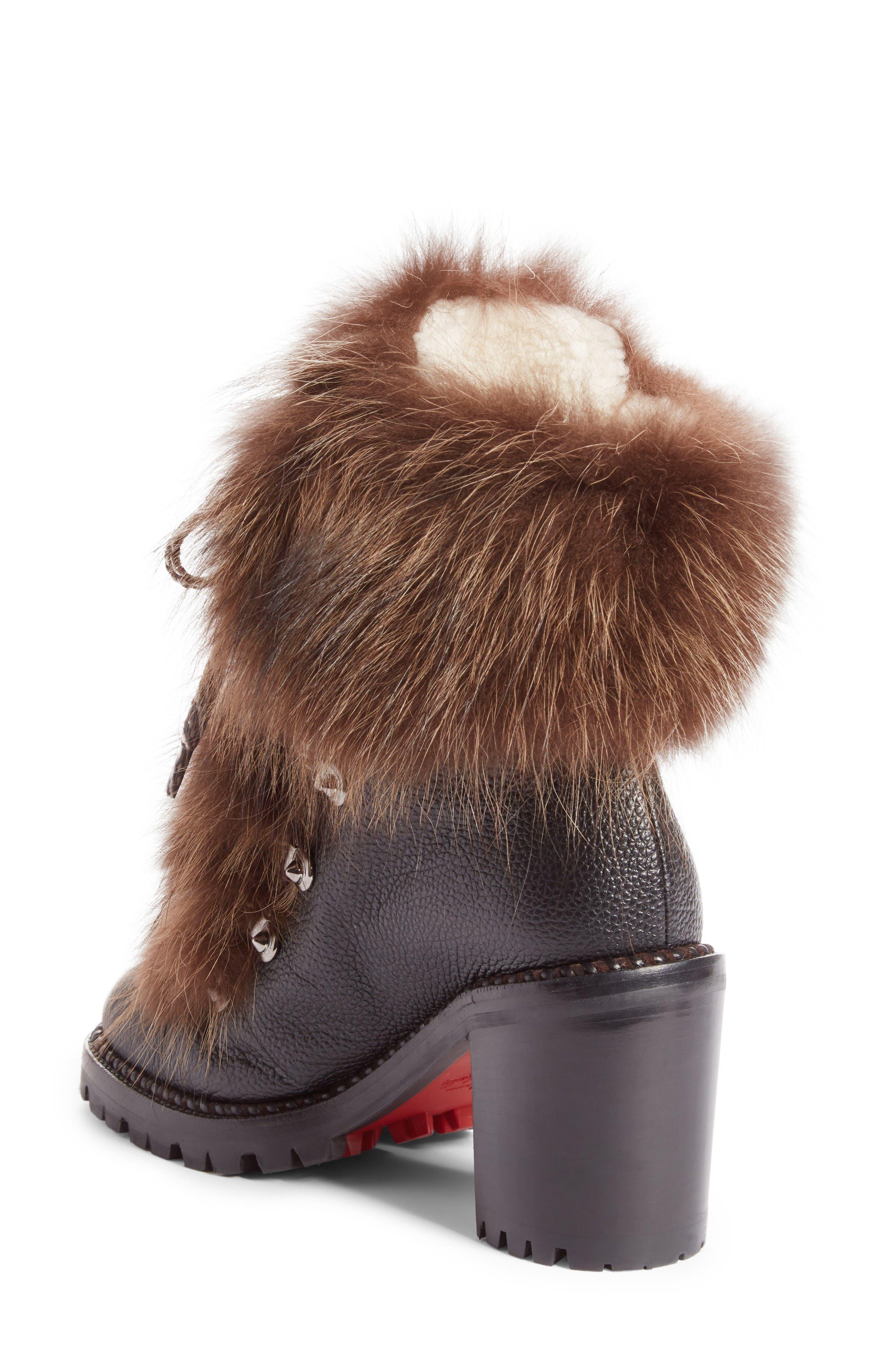 Fanny Genuine Fur Boot,                             Alternate thumbnail 2, color,                             Black Leather