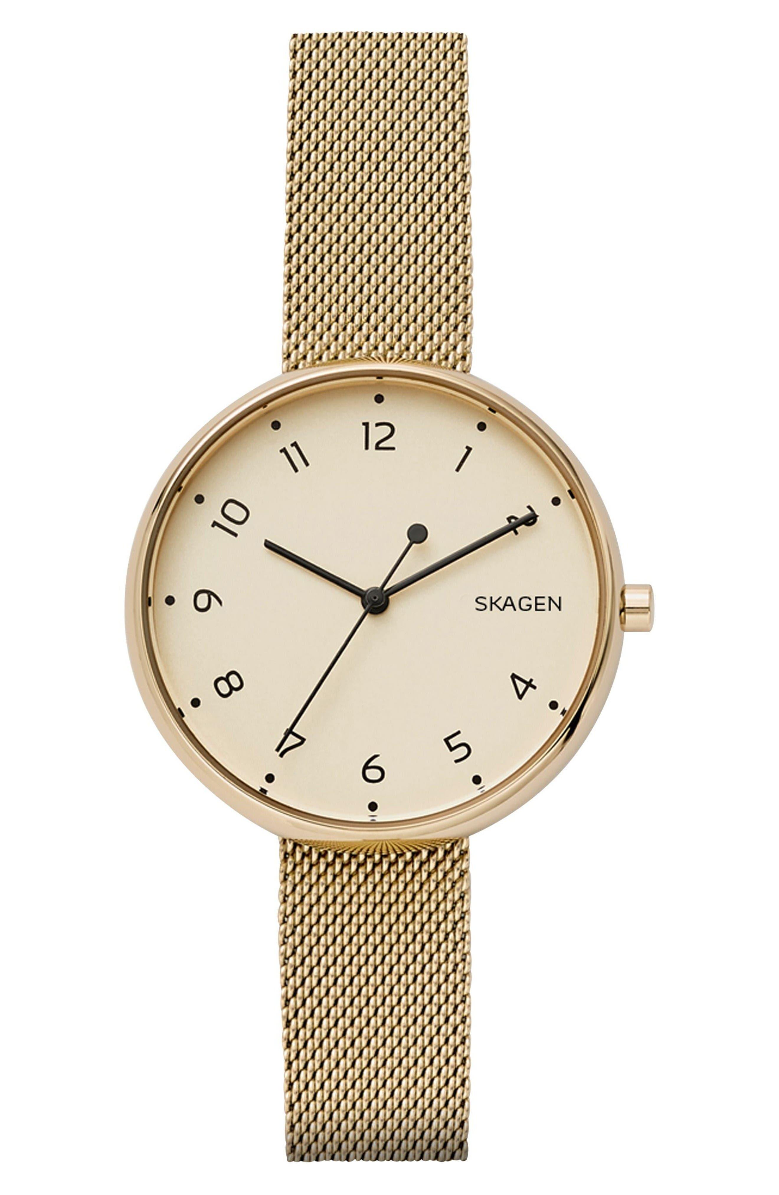 Signatur Mesh Strap Watch, 36mm,                         Main,                         color, Gold