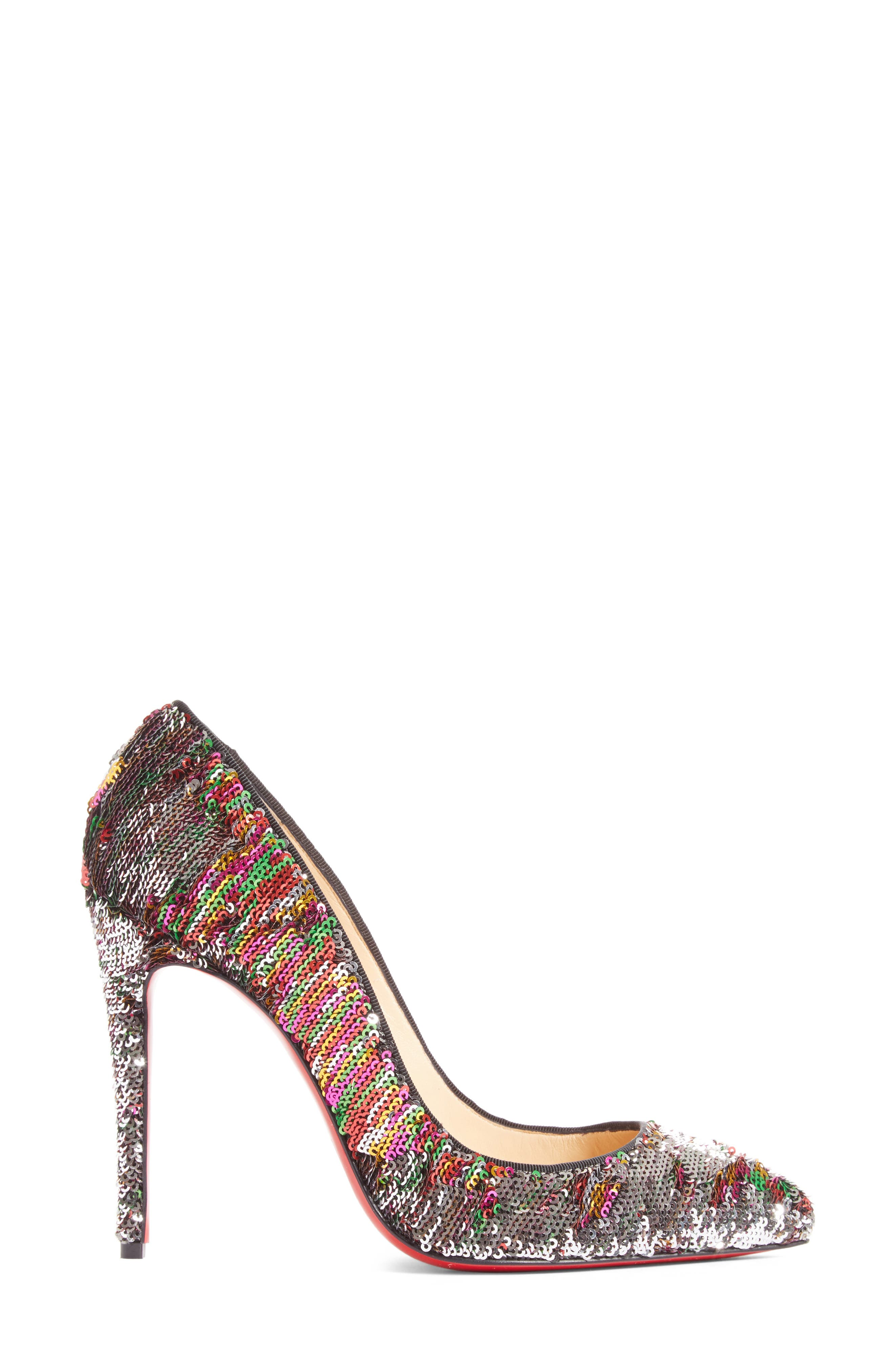 Pigalle Follies Sequin Pointy Toe Pump,                             Alternate thumbnail 4, color,                             Silver Sequin
