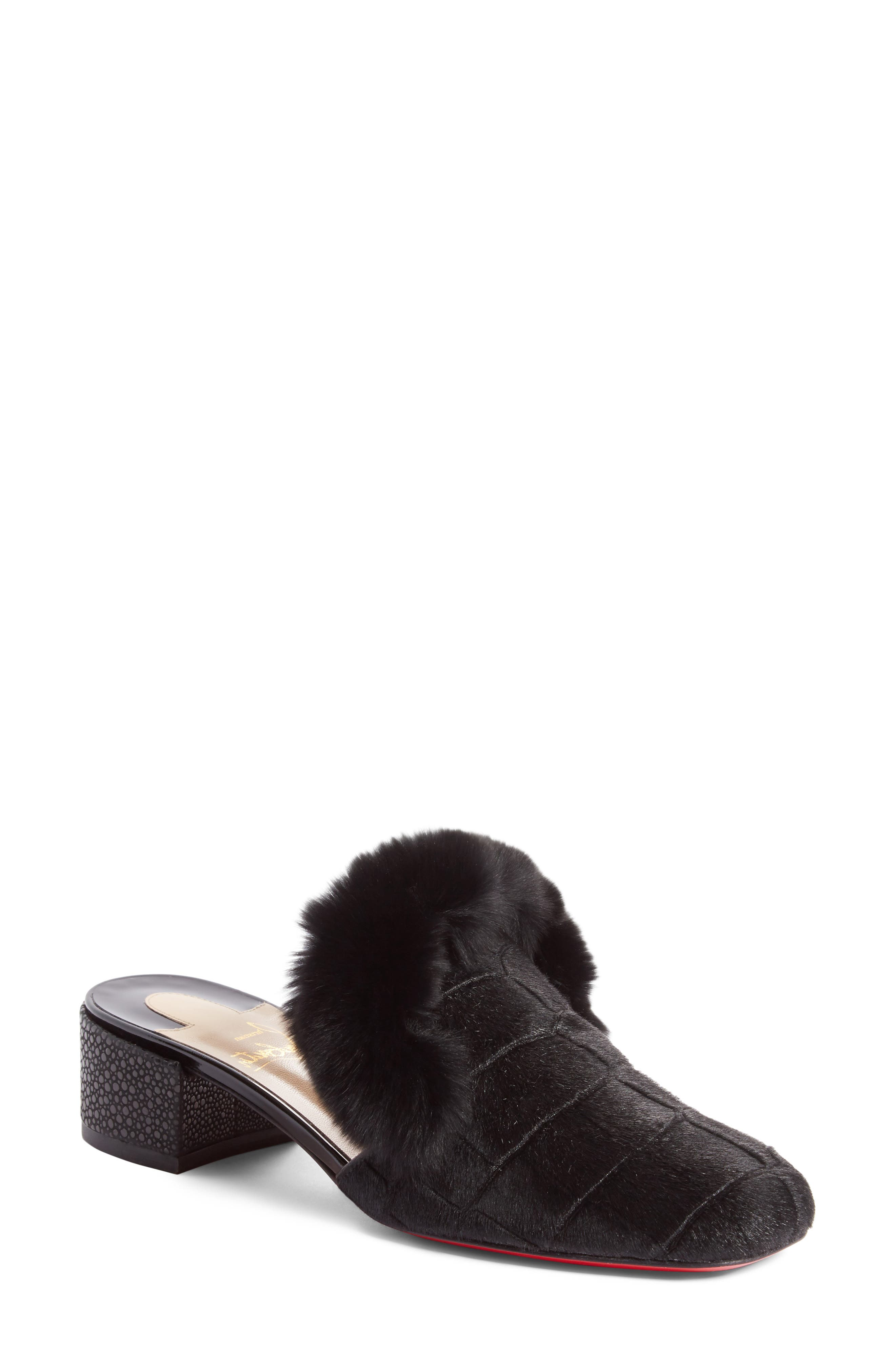 Christian Louboutin Boudiva Genuine Rabbit Fur Trim Mule (Women)