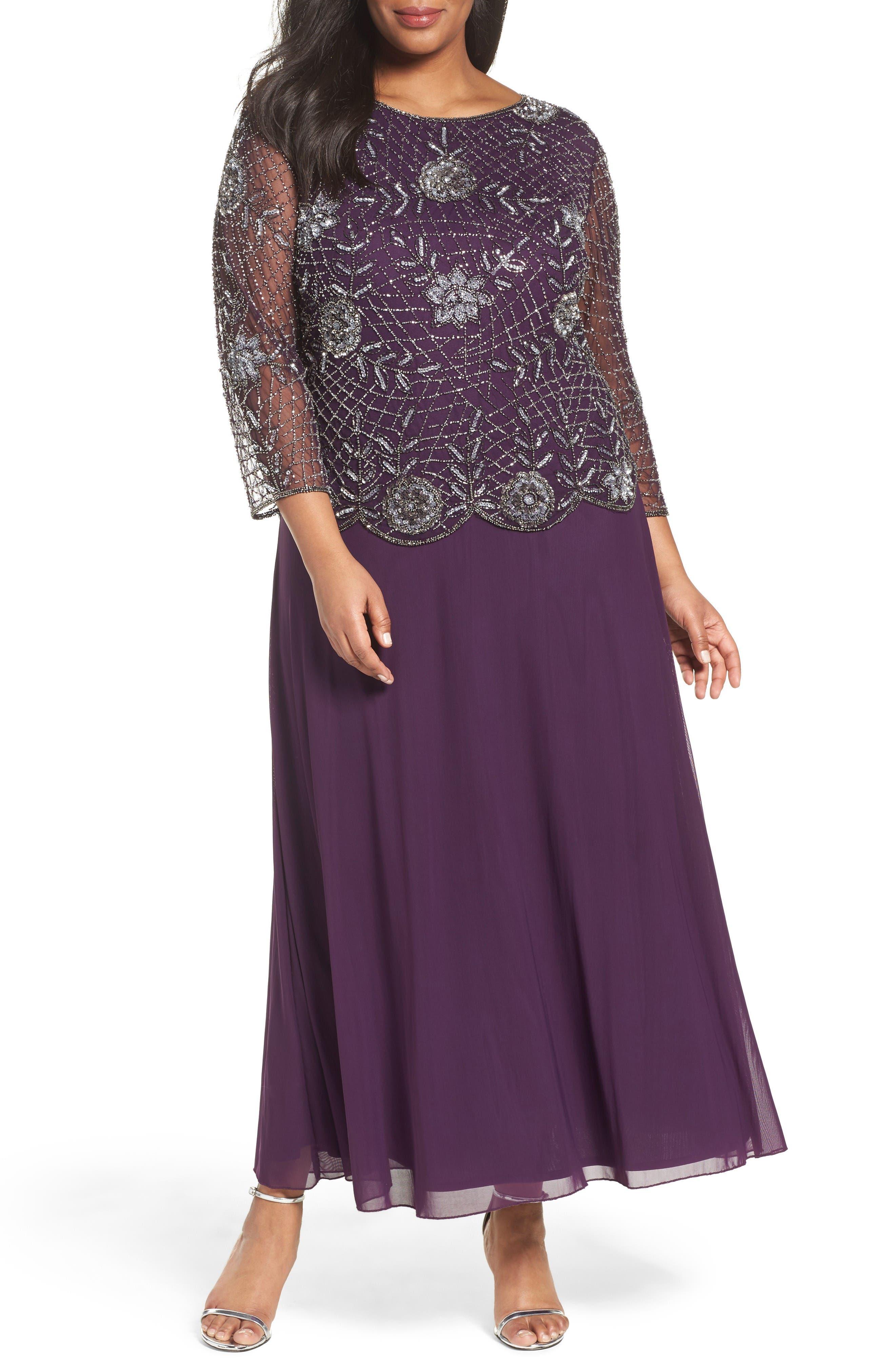 Embellished Mock Two-Piece Long Dress,                         Main,                         color, Plum