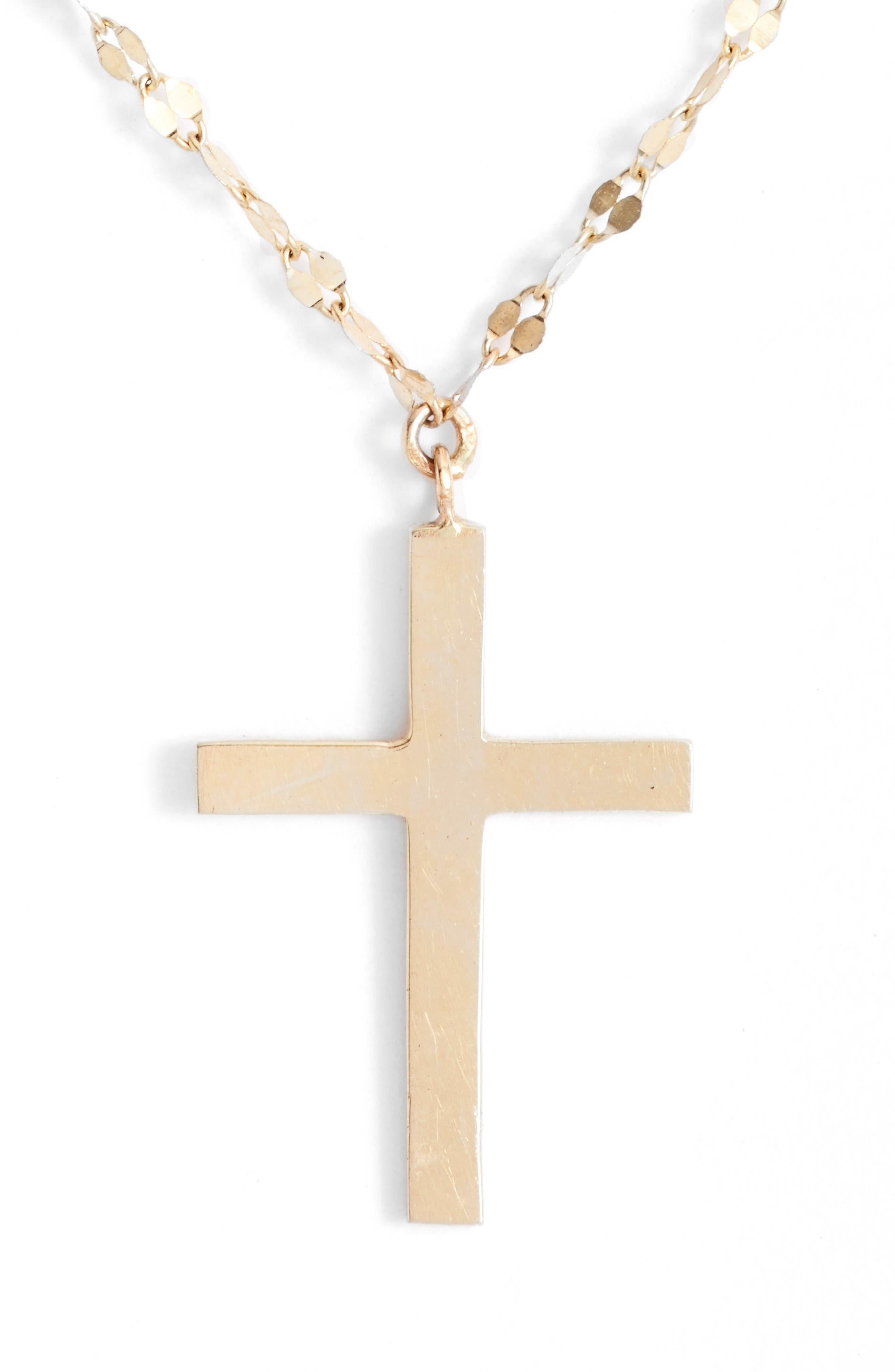 Bond Triple Cross Charm Necklace,                             Alternate thumbnail 3, color,                             Yellow Gold
