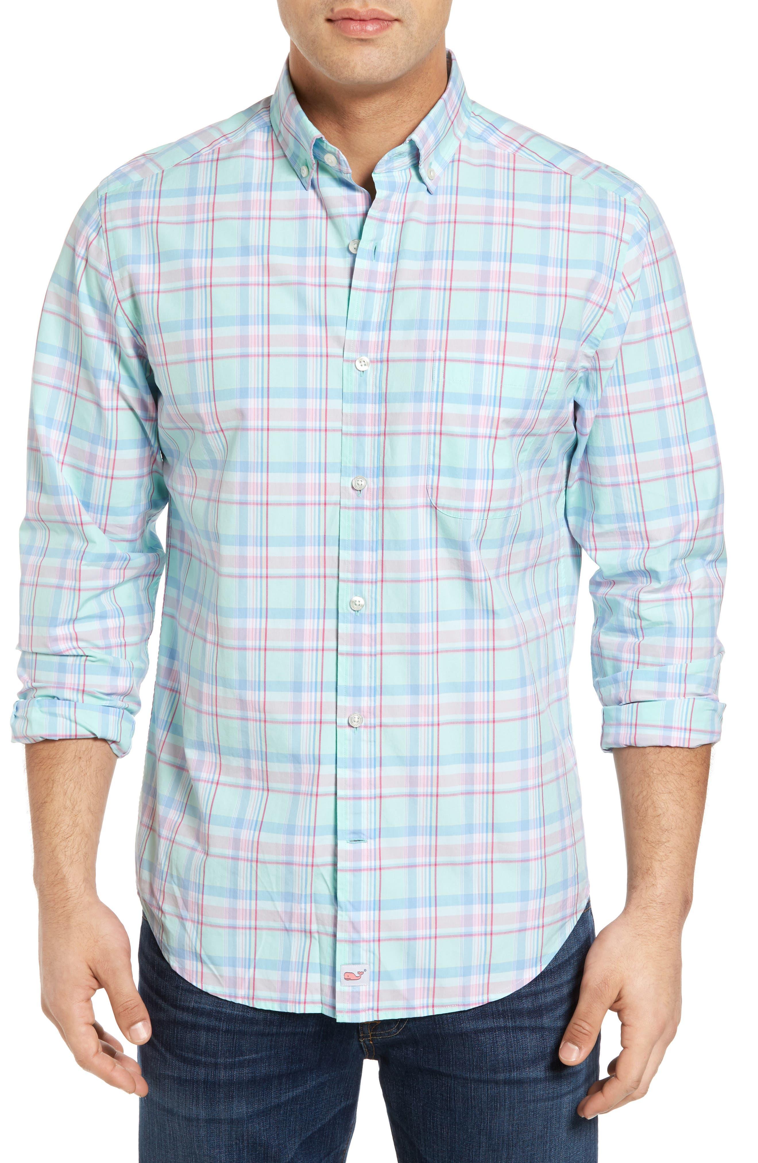 VINEYARD VINES Long Bay Plaid Slim Fit Sport Shirt