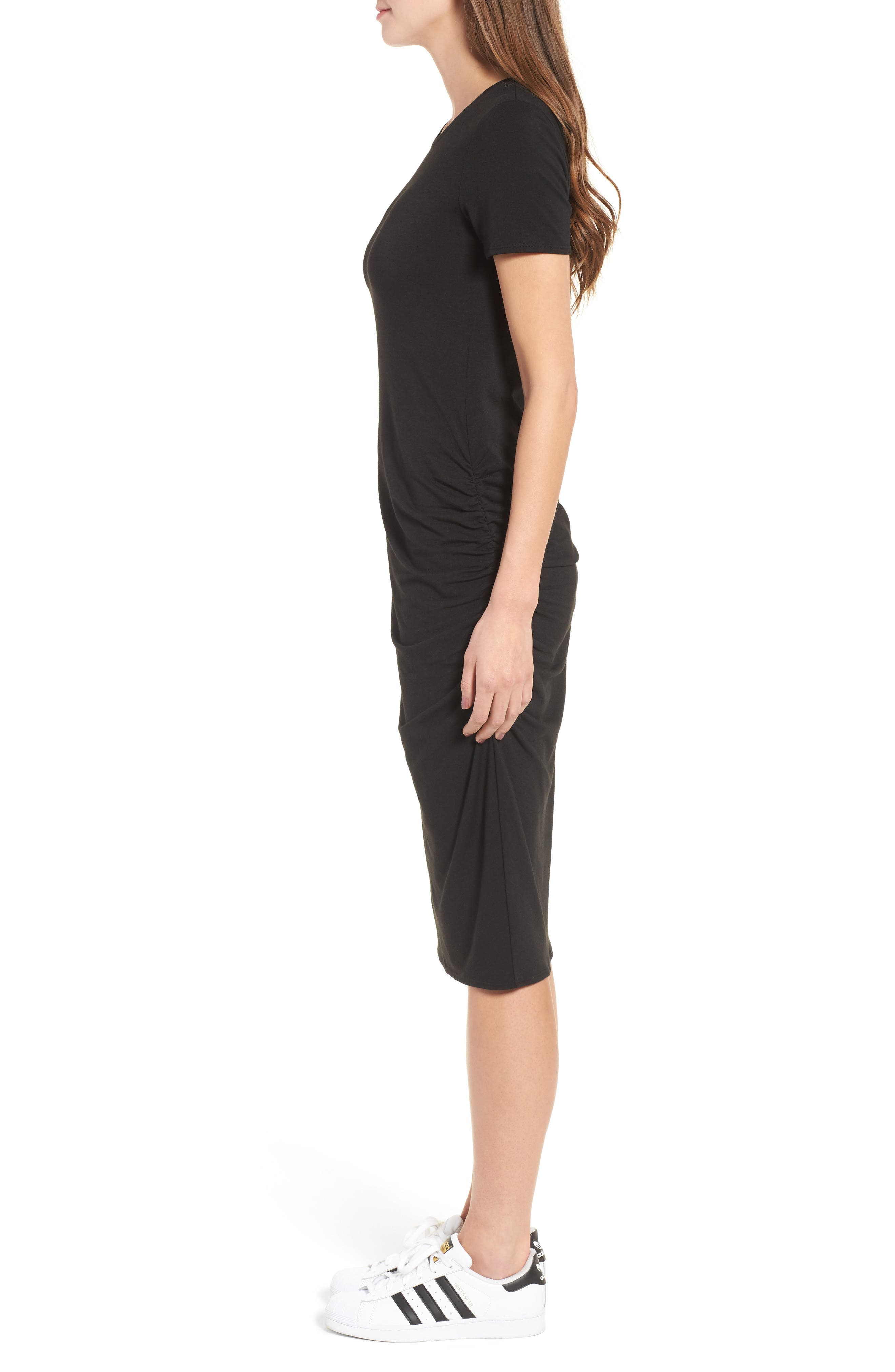 Side Ruched Body-Con Dress,                             Alternate thumbnail 3, color,                             Black