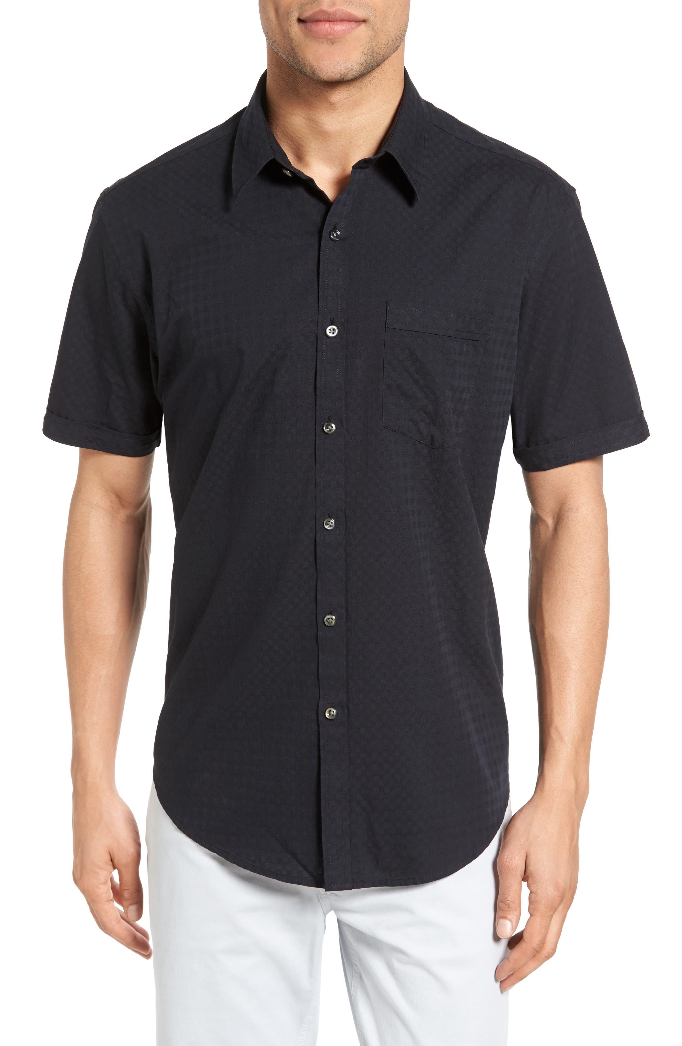 JAMES CAMPBELL Rubens Check Jacquard Sport Shirt