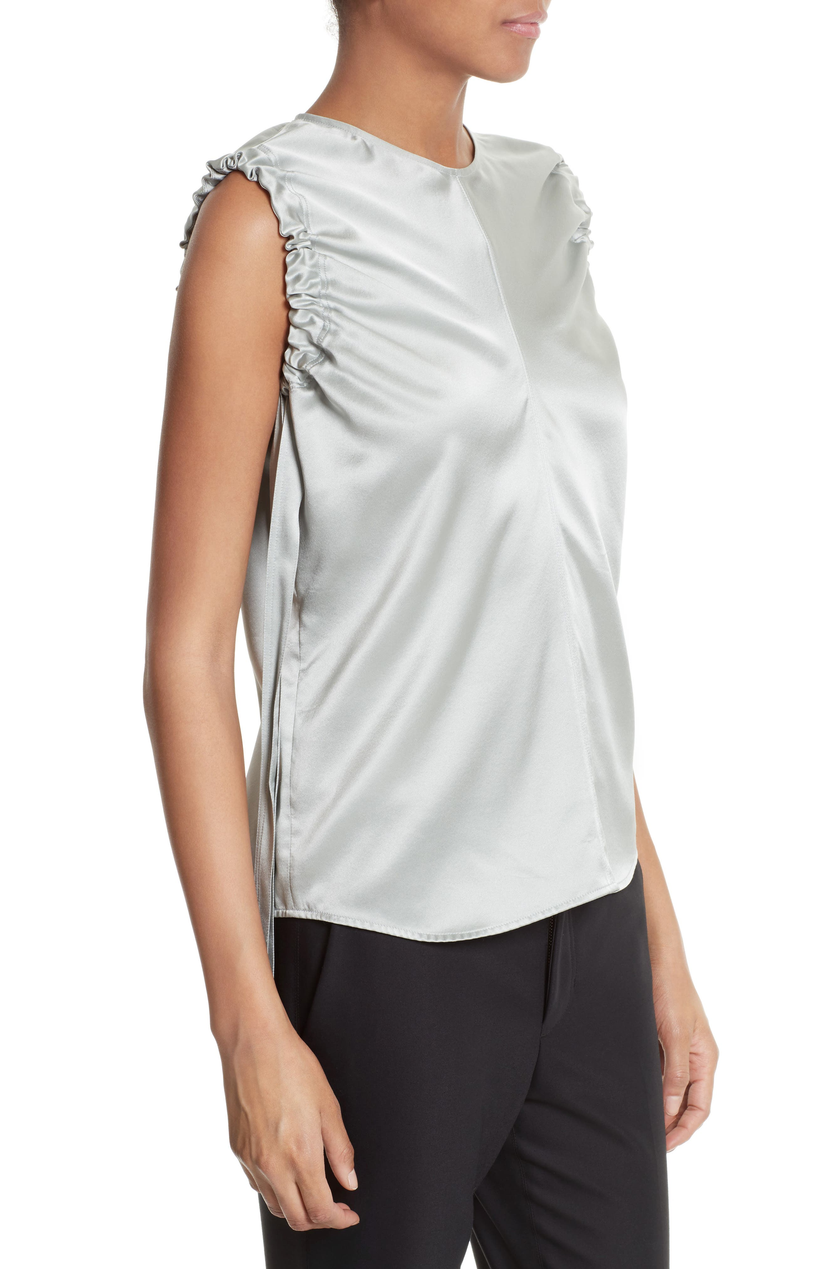 Ruched Armhole Silk Tank,                             Alternate thumbnail 3, color,                             Dew