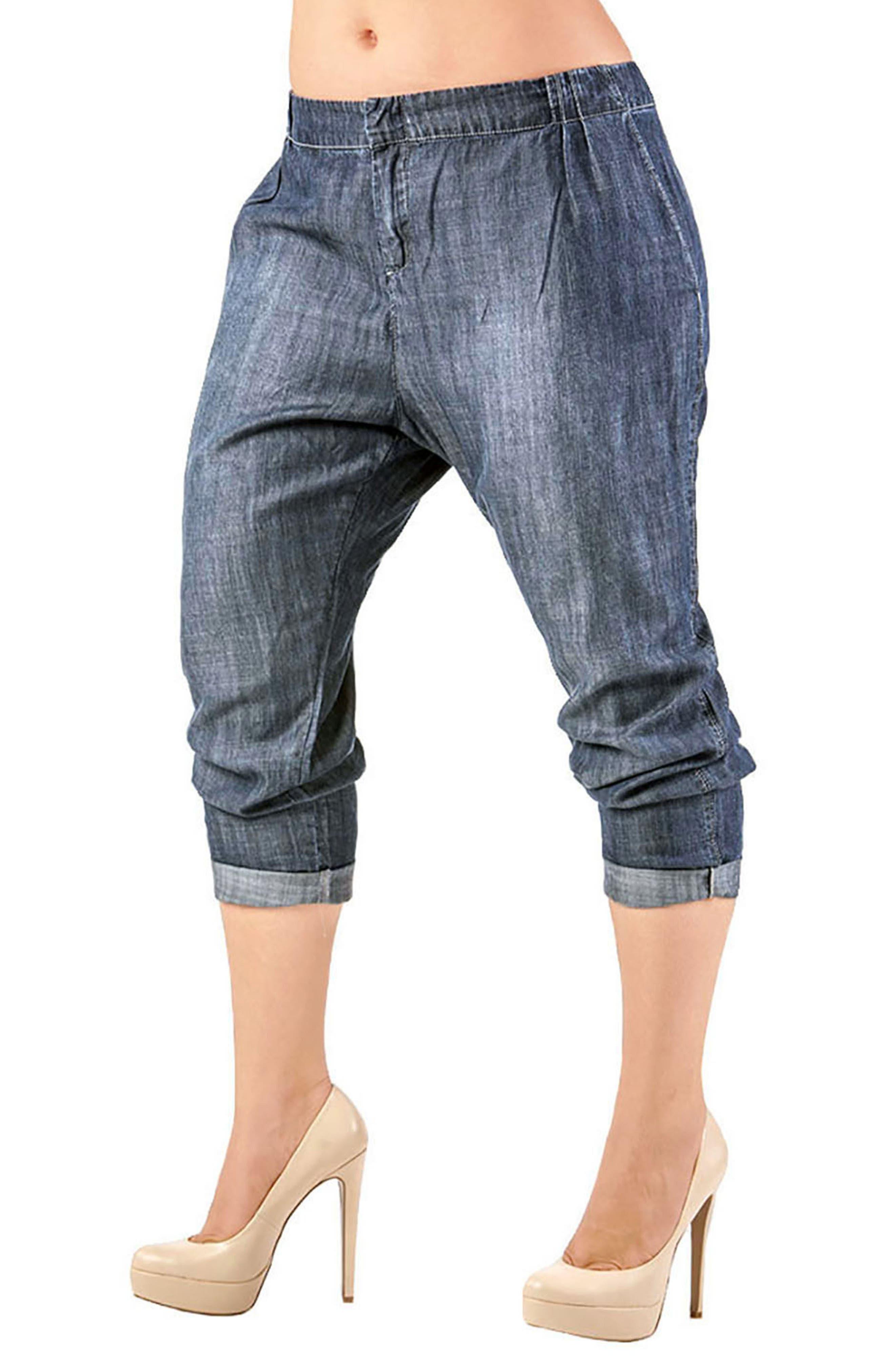 Louise Pleat Denim Crop Pants,                         Main,                         color, Grey