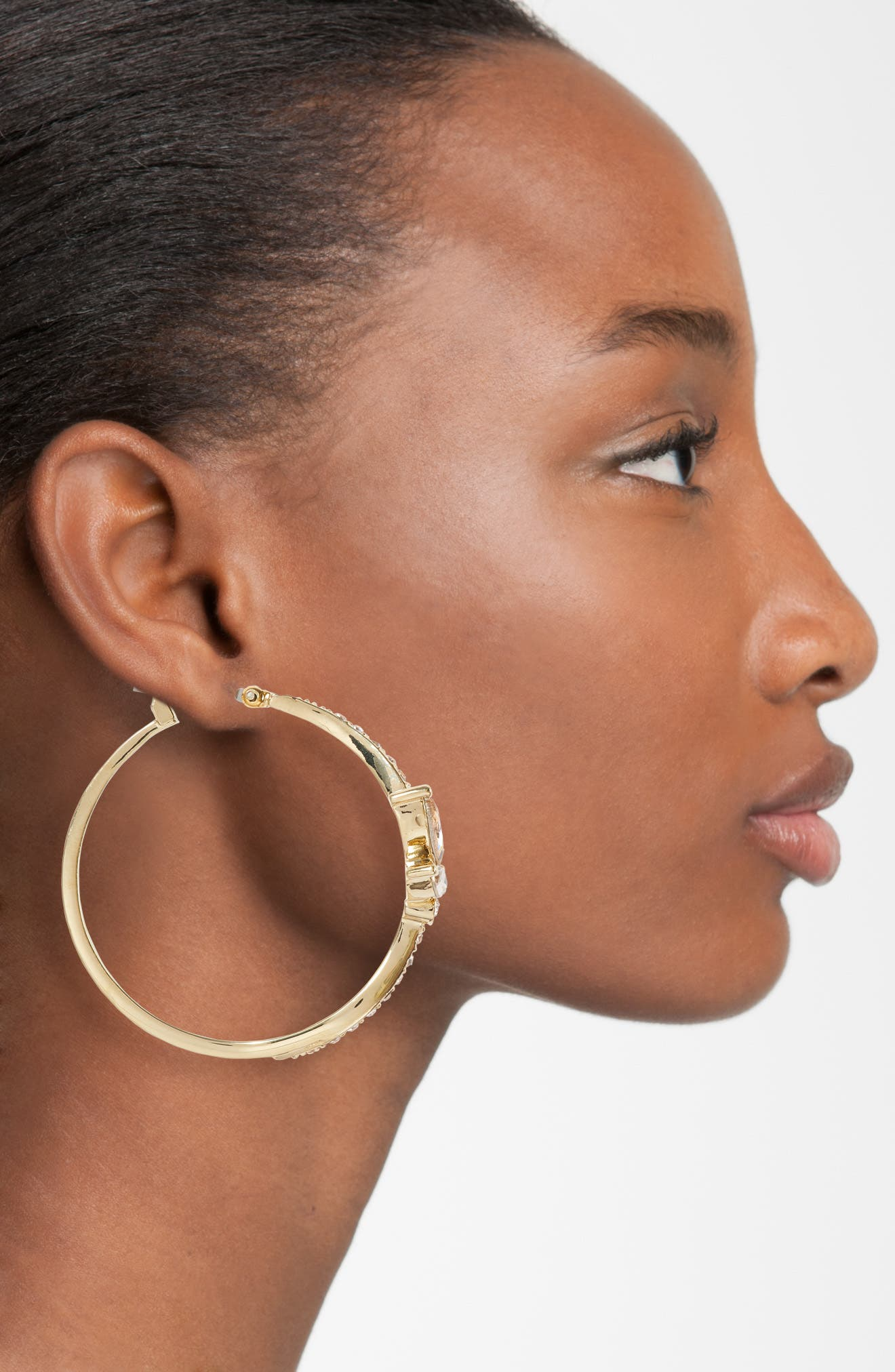 Glistening Shadows Pavé Hoop Earrings,                             Alternate thumbnail 2, color,                             Champagne / Gold