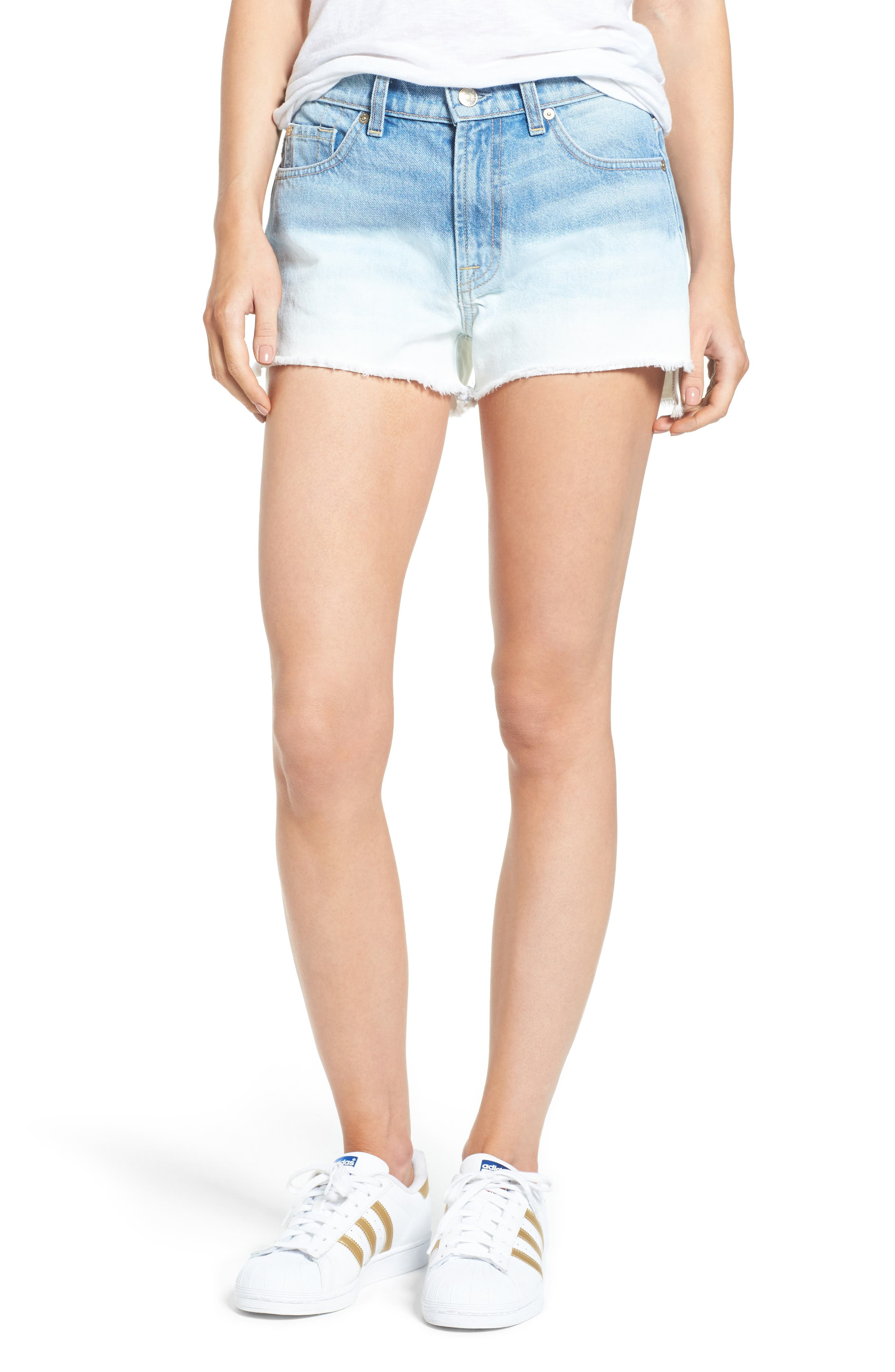 7 For All Mankind® High Waist Step Hem Denim Shorts (Ocean Breeze)