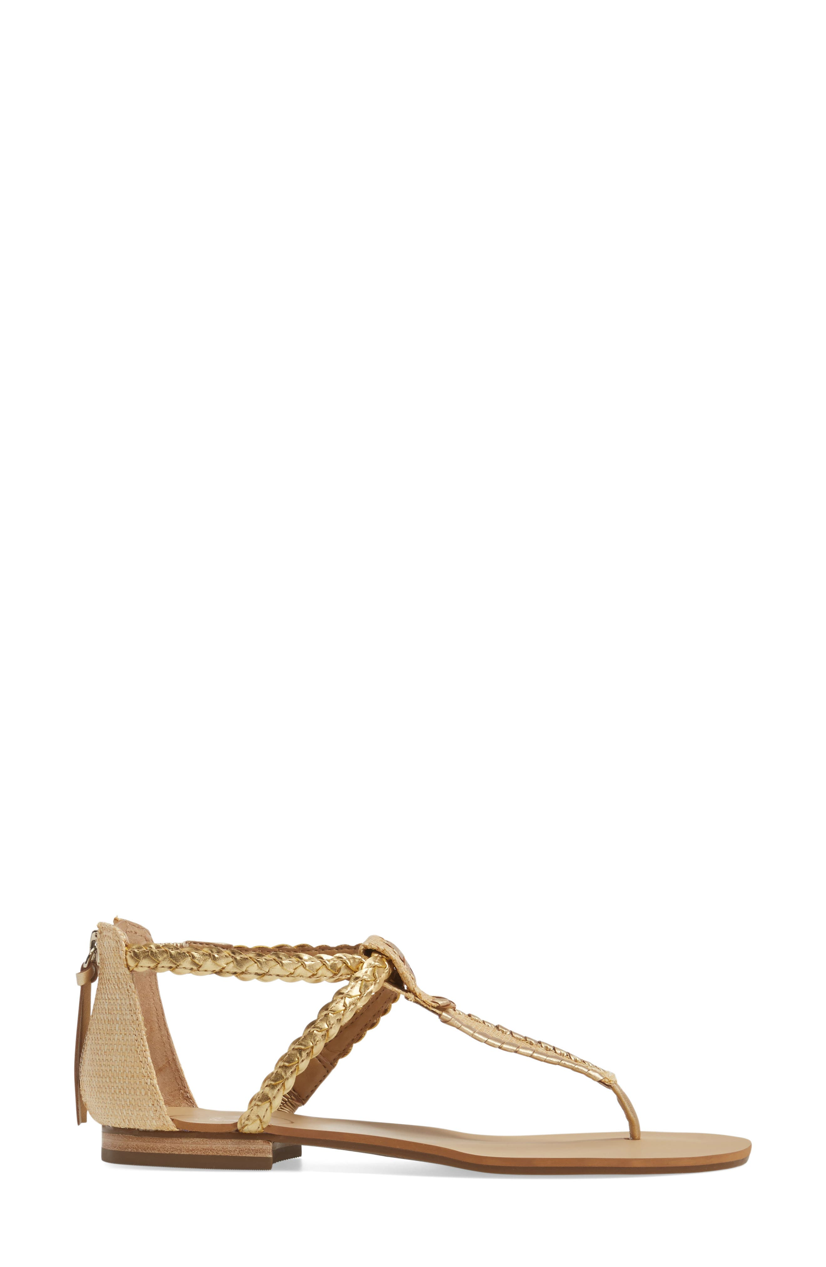 Jenna Sandal,                             Alternate thumbnail 3, color,                             Natural/ Gold Fabric