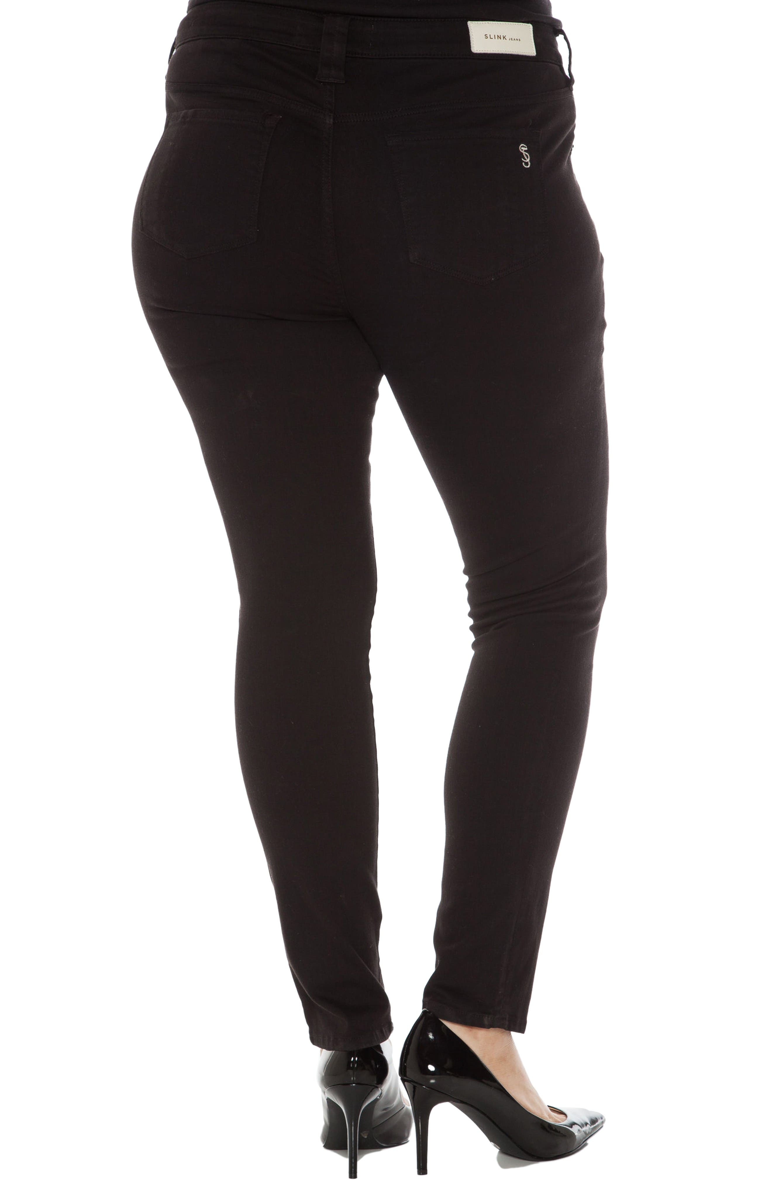 Alternate Image 2  - SLINK Jeans 'The Skinny' Stretch Denim Jeans (Danielle) (Plus Size)