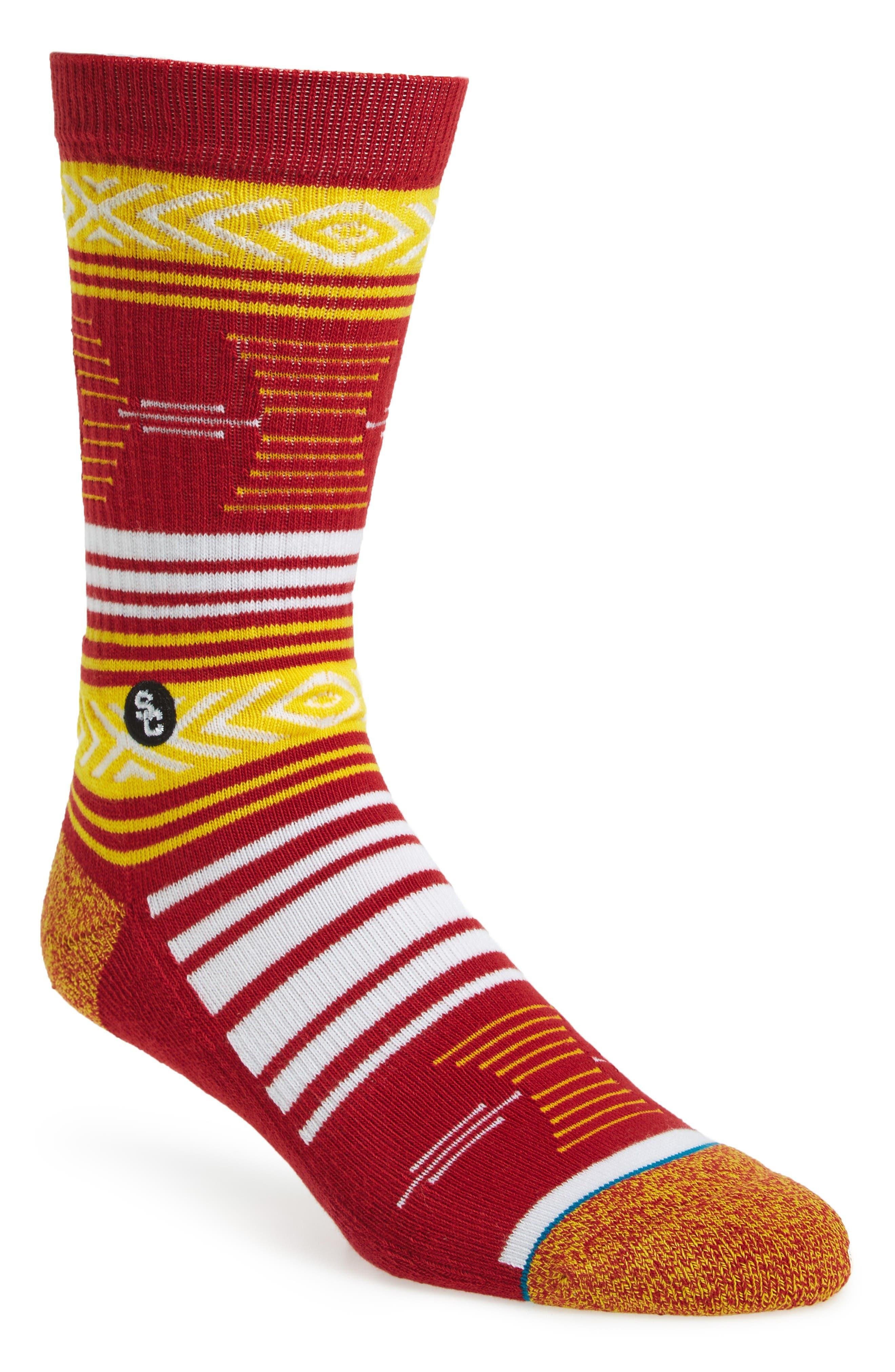 Mazed USC Trojans Socks,                             Main thumbnail 1, color,                             Cardinal
