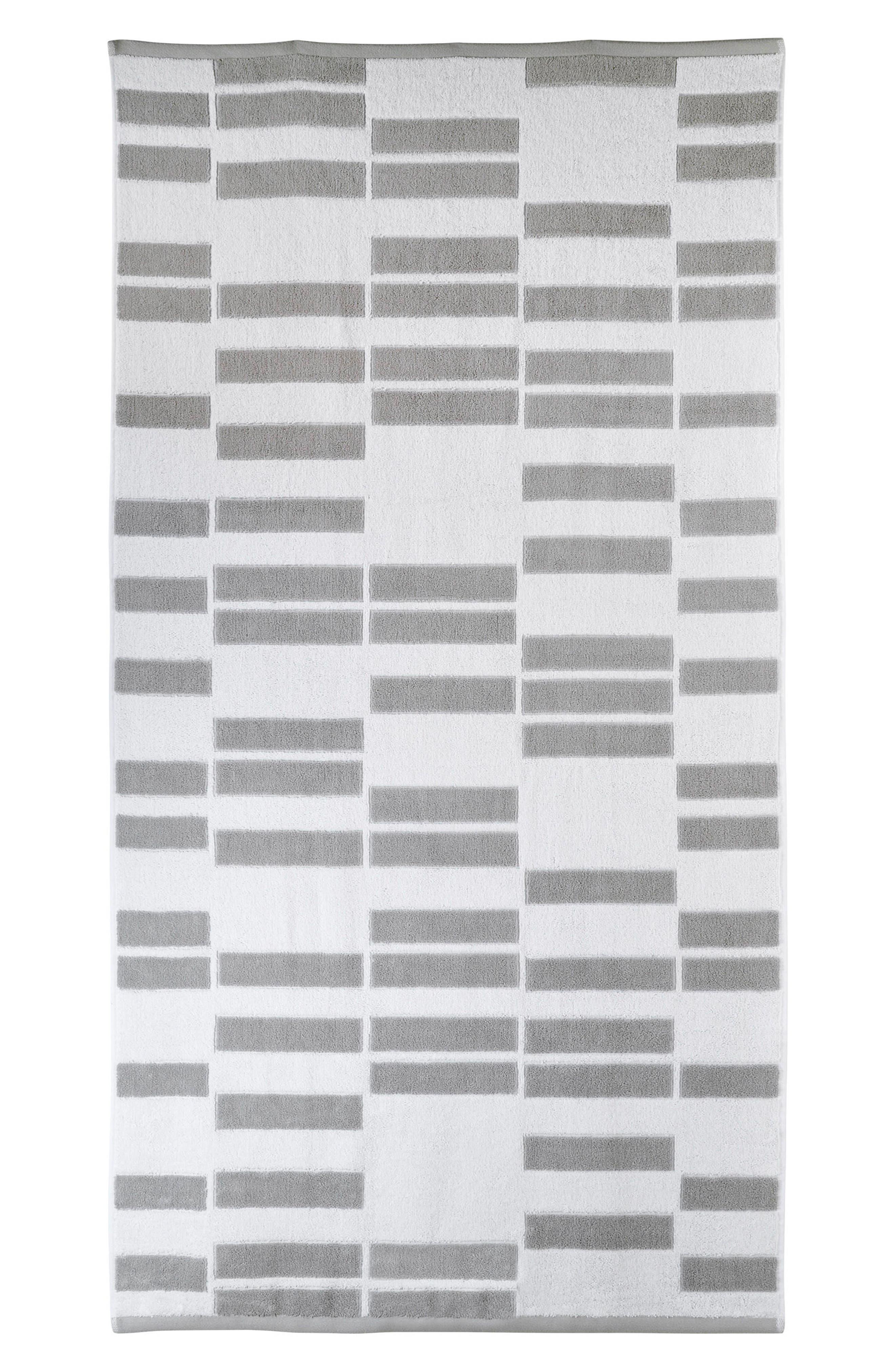 High Rise Fingertip Towel,                         Main,                         color, White/ Smoke