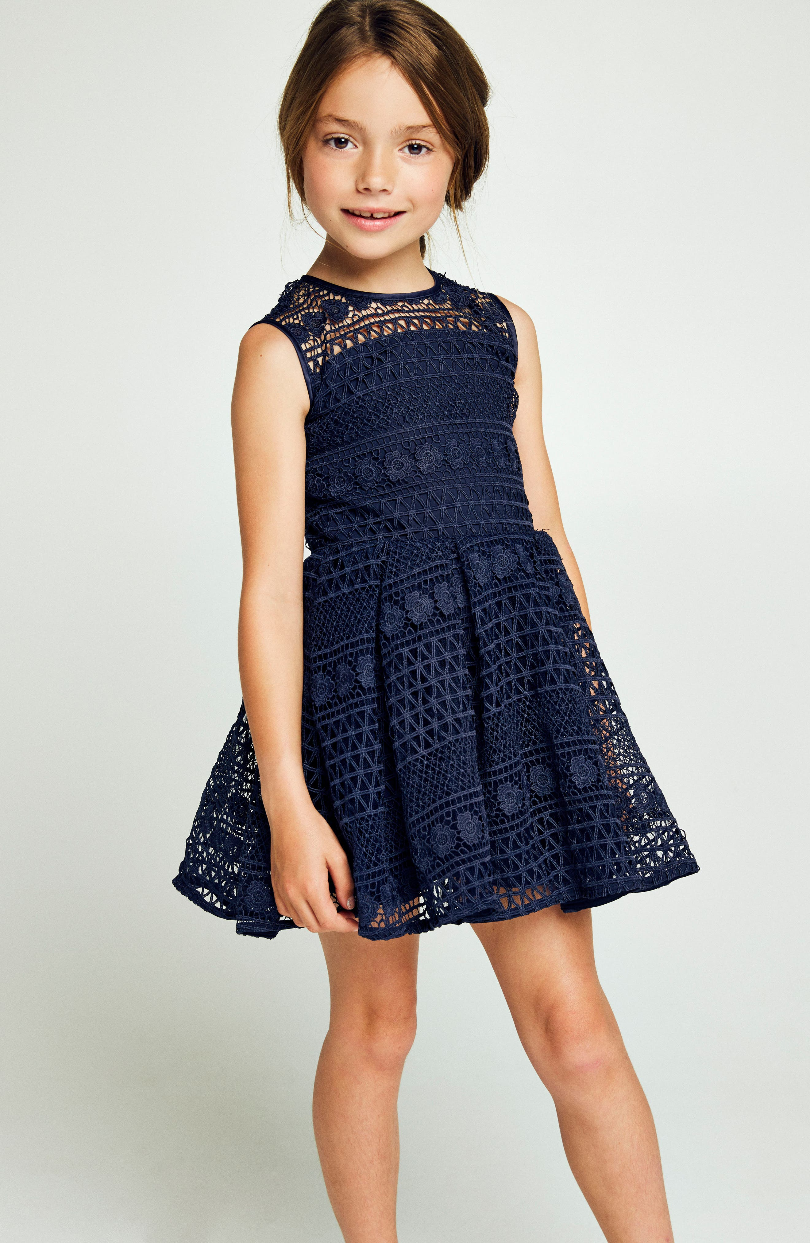 Linear Lace Dress,                             Alternate thumbnail 2, color,                             Navy