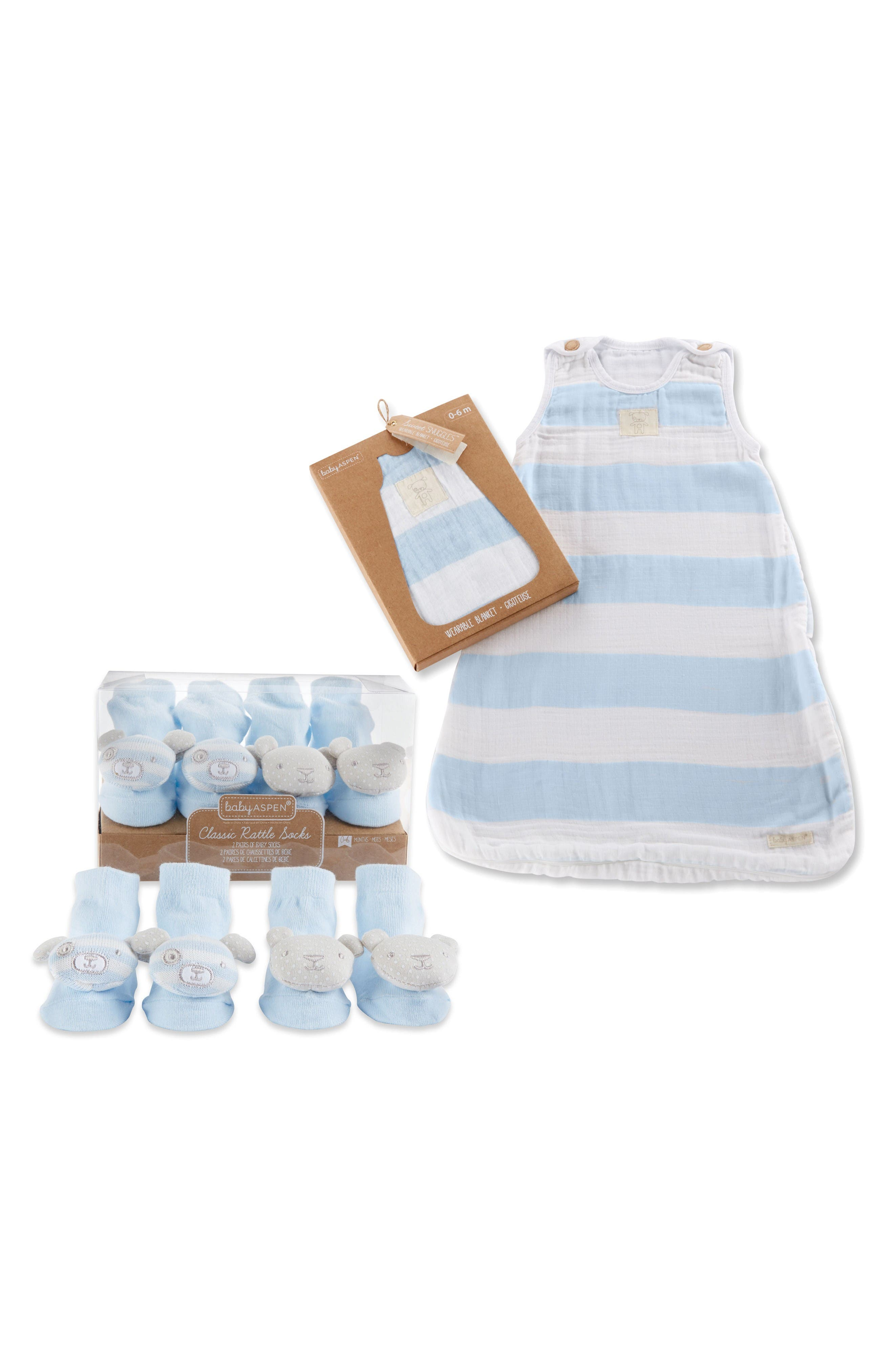 Sweet Snuggles 2-Pack Socks & Wearable Blanket Set,                         Main,                         color, Blue And Gray