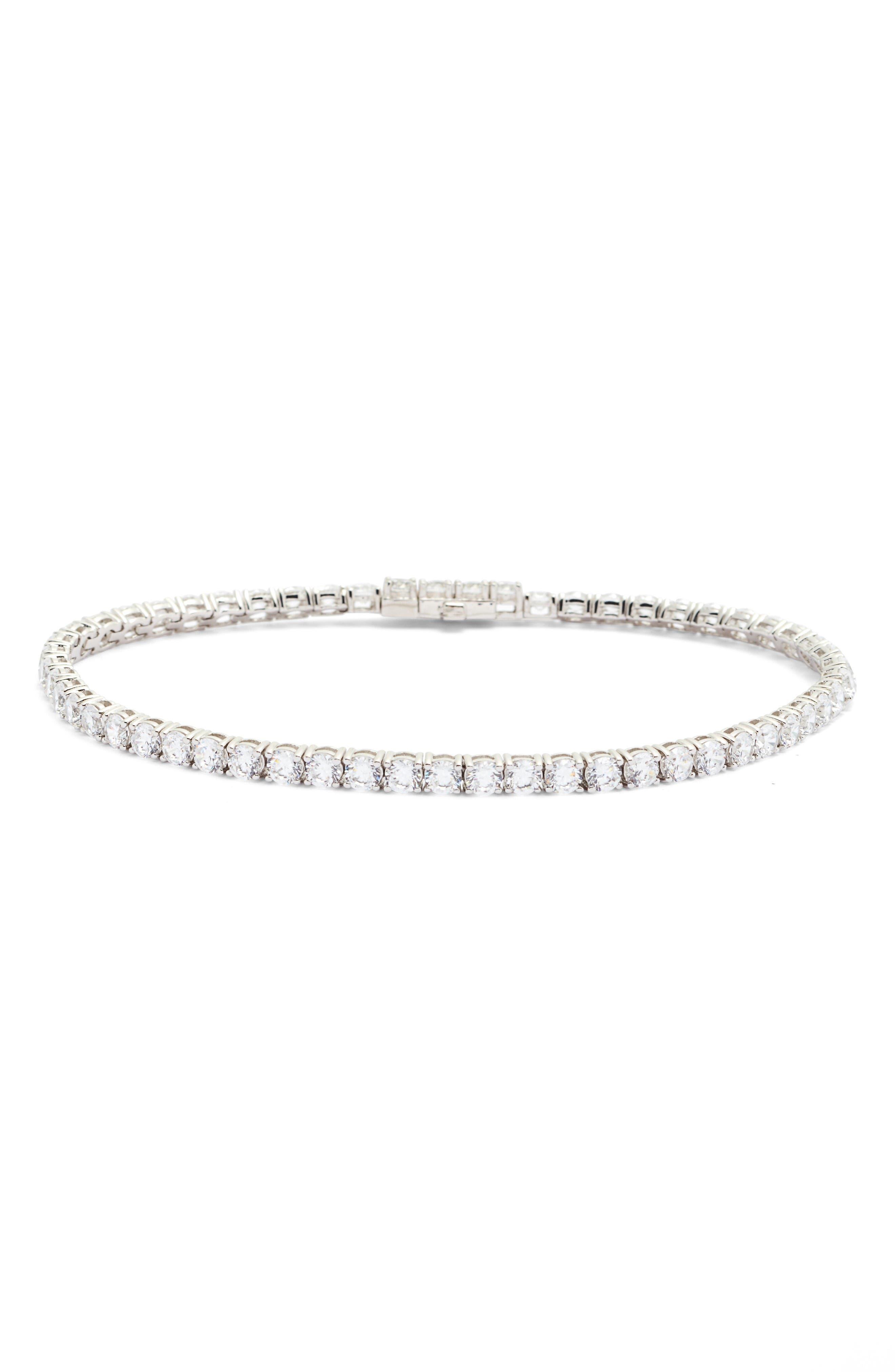Classic Simulated Diamond Tennis Bracelet,                         Main,                         color, Silver